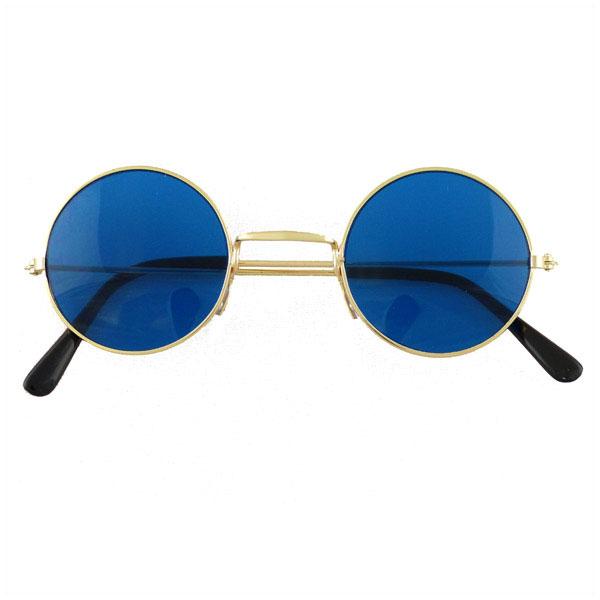 60s-70s-Round-Lennon-Glasses-Silver-Frames-Blue-