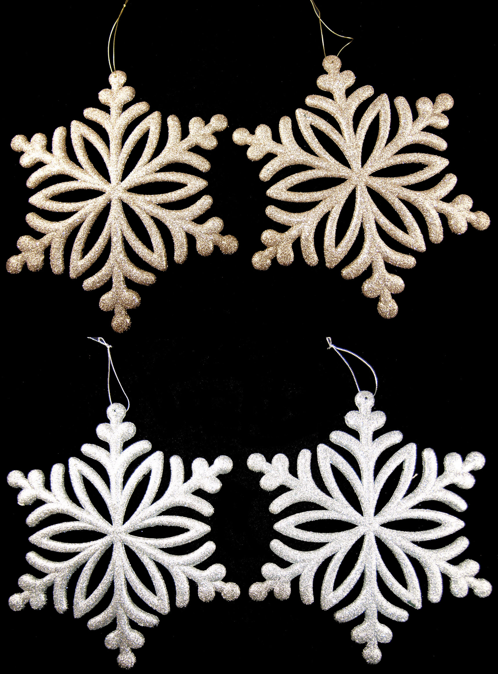 Set Of 2 Giant Xl Hanging 27cm Glitter Snowflake Christmas