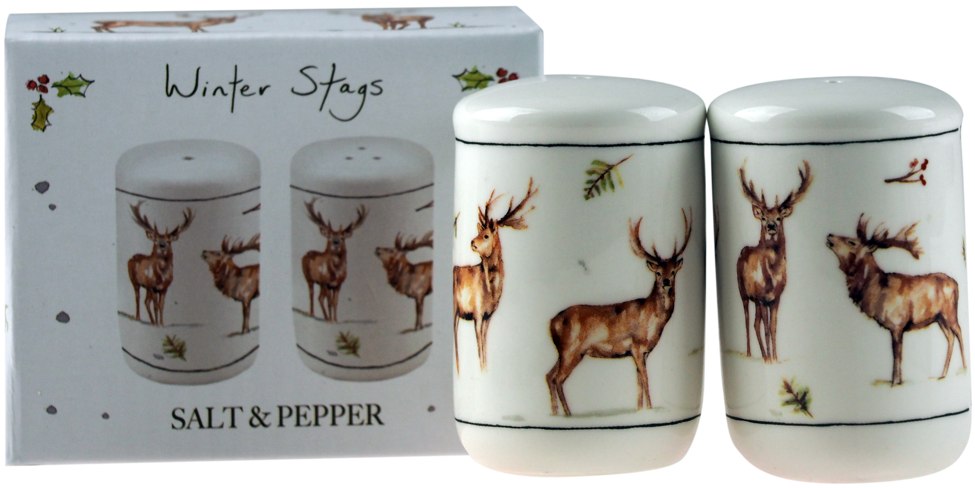 Festive Winter Stags Salt /& Pepper Cruet Set Kitchen Accessory Brand New and Box