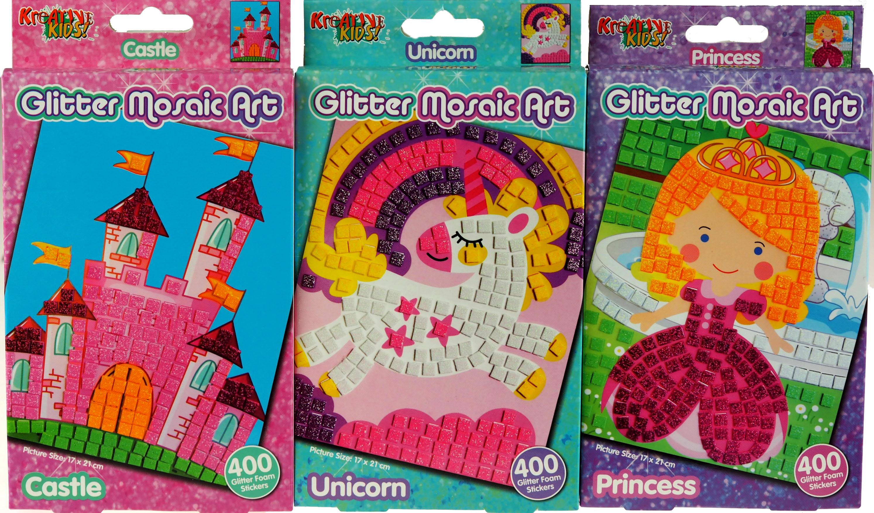 Unicorn Fairy Set Of 3 Make Your Own Glitter Mosaic Craft Kits Castle