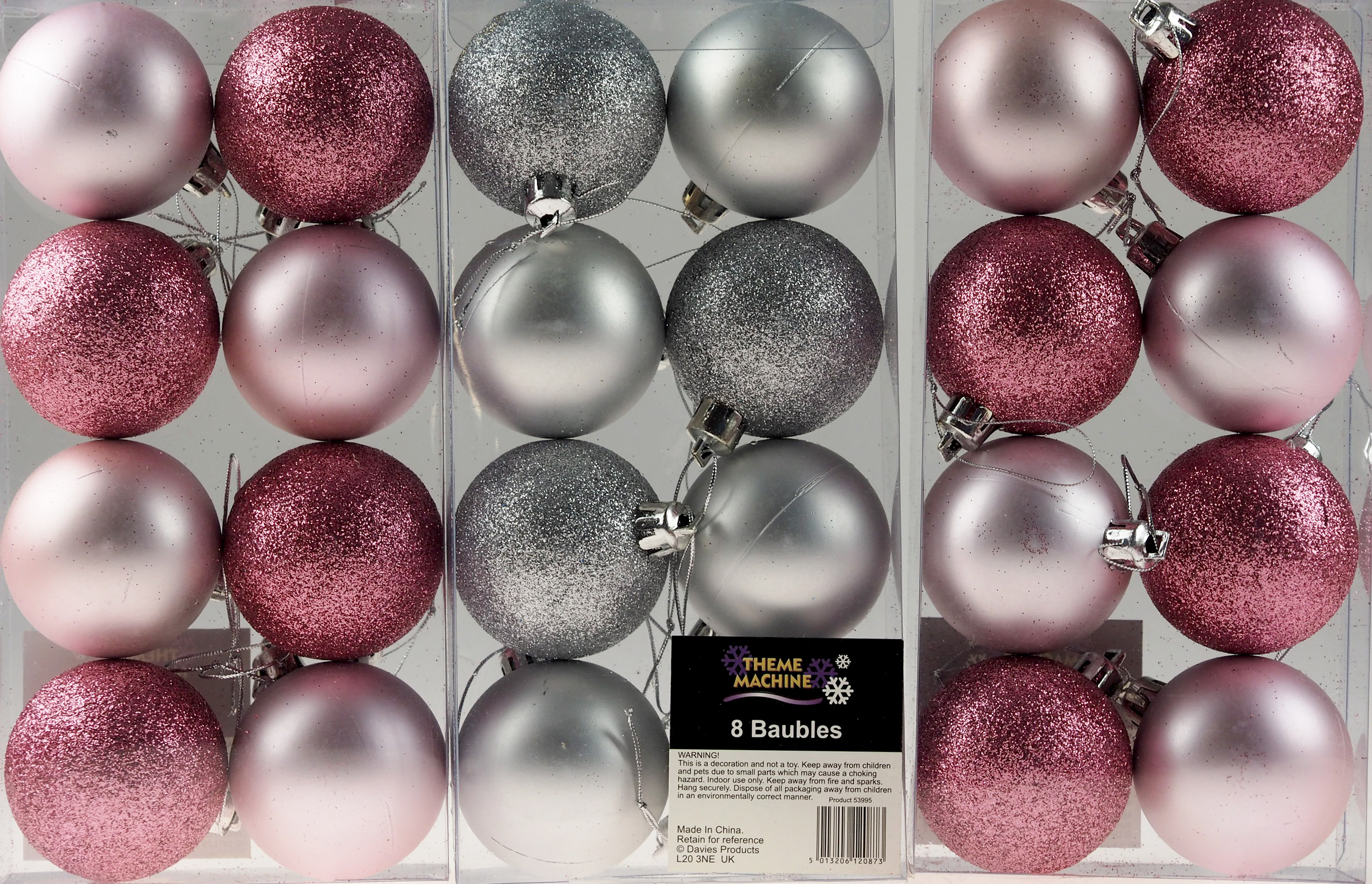 Pink Christmas Tree Decorations Uk.Details About Set Of 24 Baby Pink Silver 6cm Christmas Tree Baubles Decorations