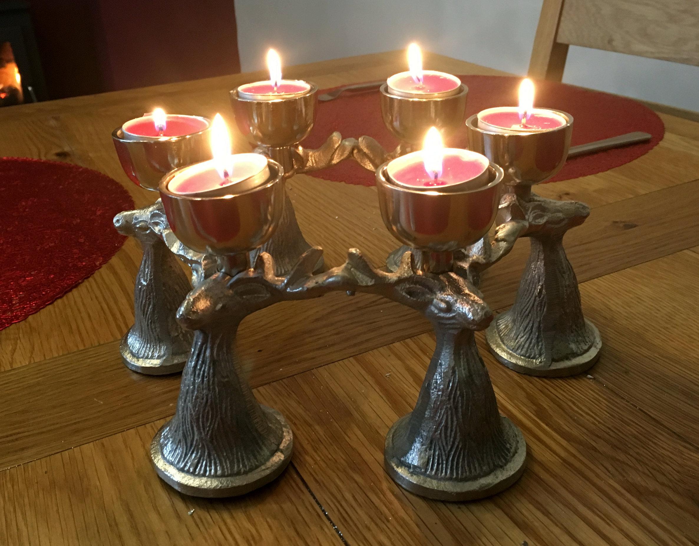 Large Silver Antique Style Christmas Reindeer Tea Light