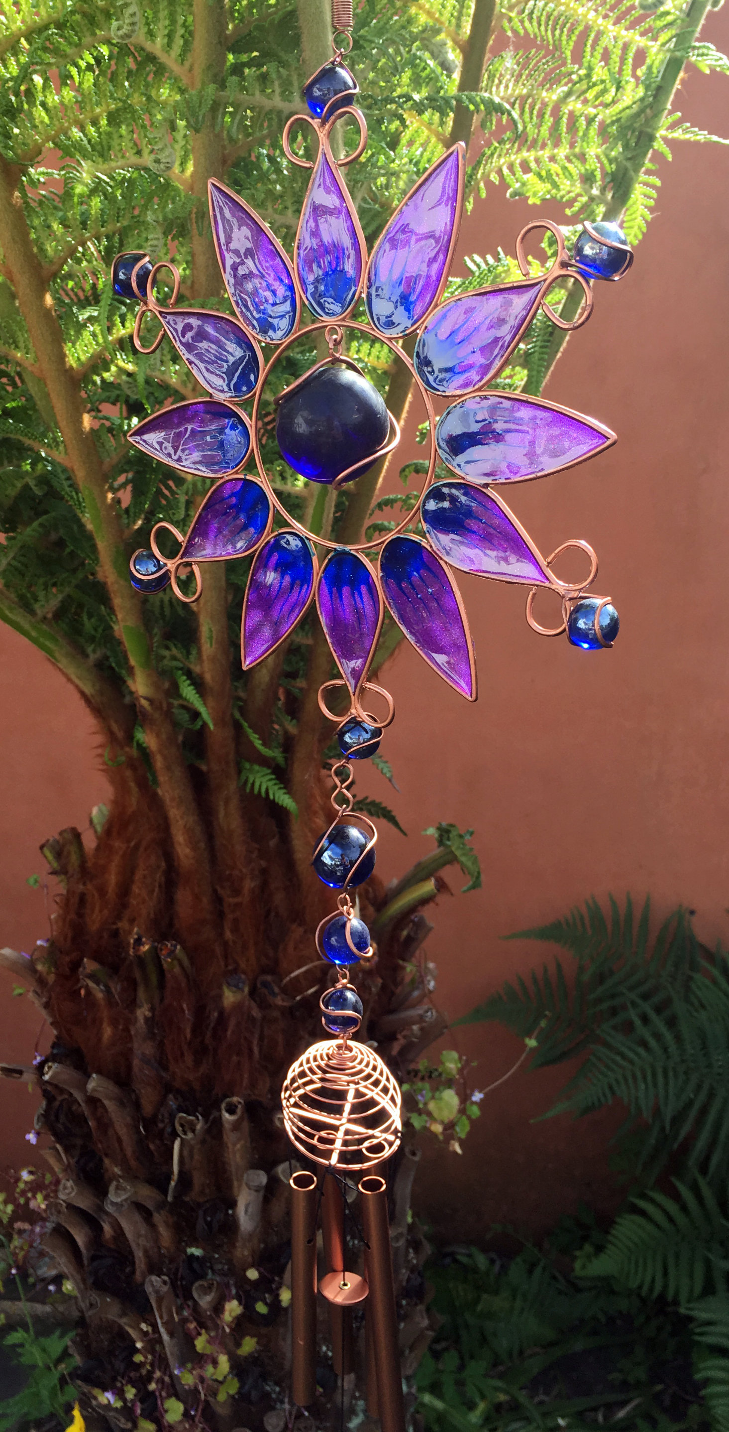 Large-Metal-amp-Glass-Hanging-Sun-Catcher-Wind-Chime-Home-Garden-Decorations thumbnail 36