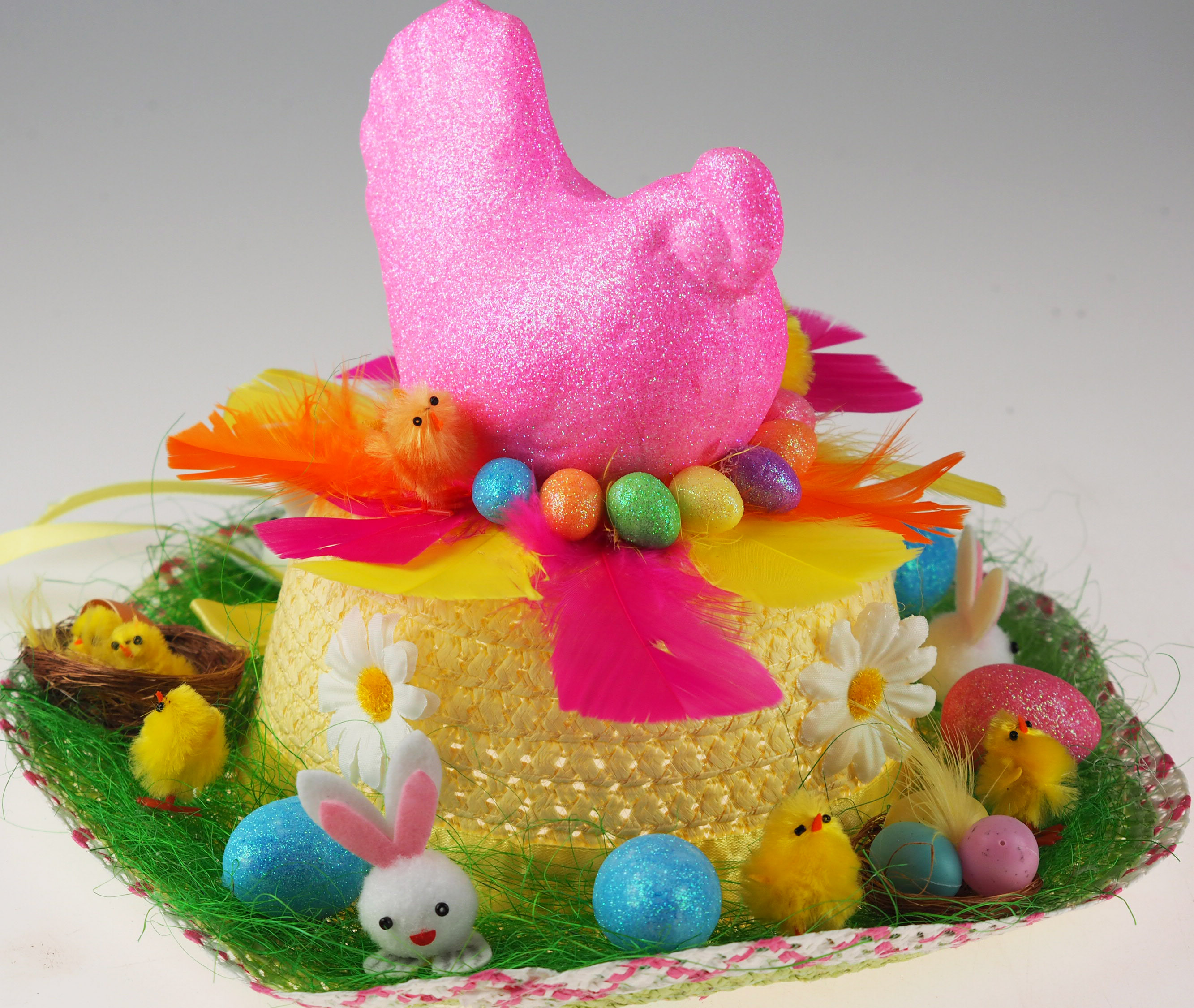 XL Foam Yellow Glitter Hen Easter Centre Piece Decoration Art Craft Use
