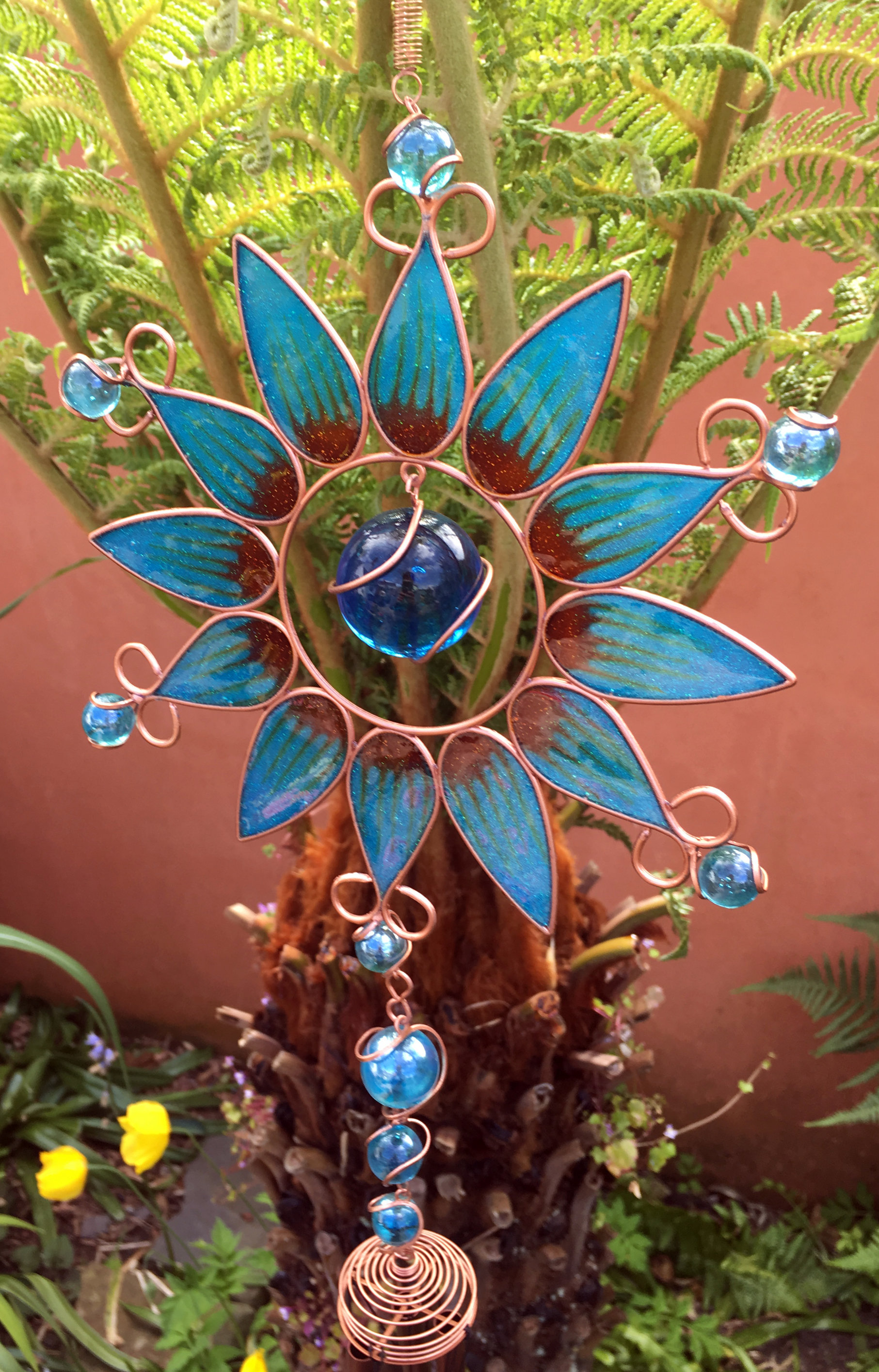 Large-Metal-amp-Glass-Hanging-Sun-Catcher-Wind-Chime-Home-Garden-Decorations thumbnail 34