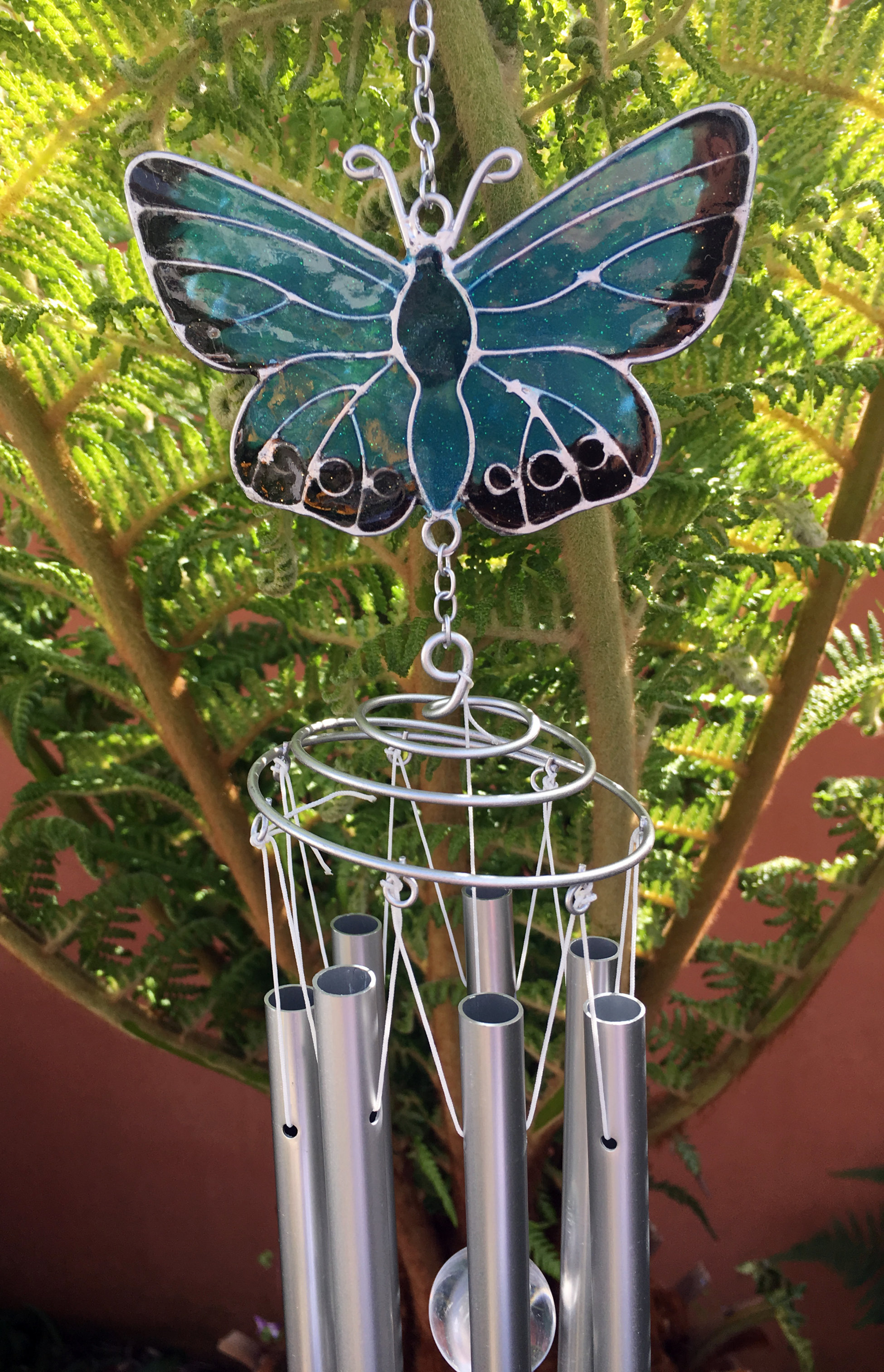 Large-Metal-amp-Glass-Hanging-Sun-Catcher-Wind-Chime-Home-Garden-Decorations thumbnail 16