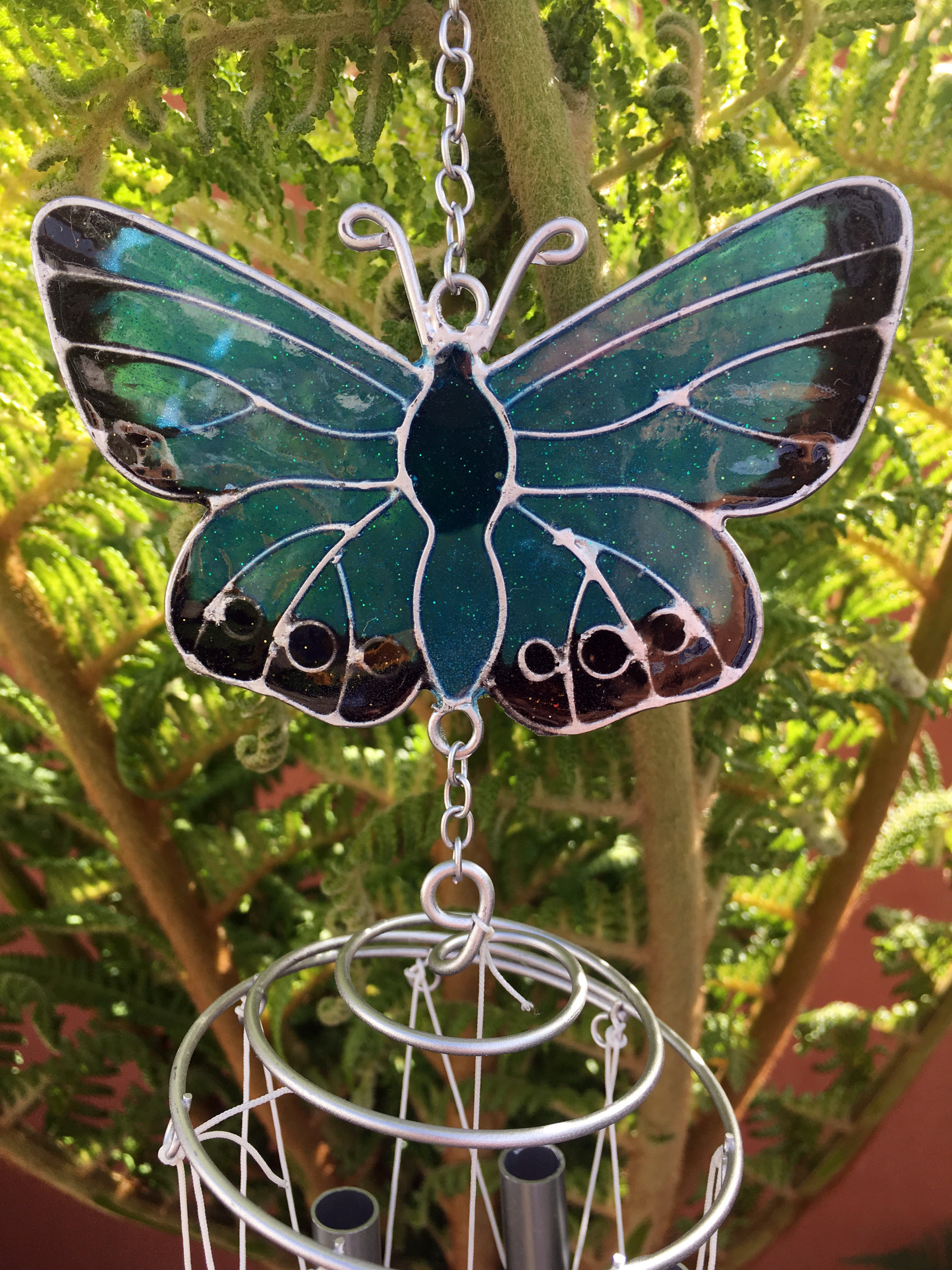Large-Metal-amp-Glass-Hanging-Sun-Catcher-Wind-Chime-Home-Garden-Decorations thumbnail 17