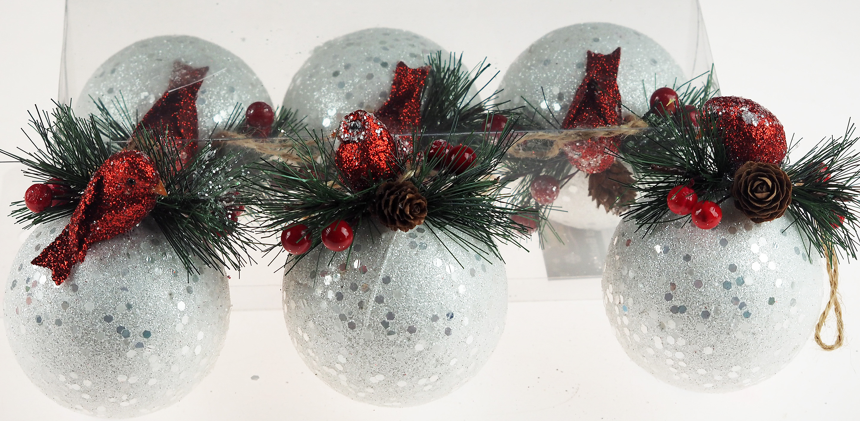 Set Of 6 Large White Snowball Christmas Tree Baubles