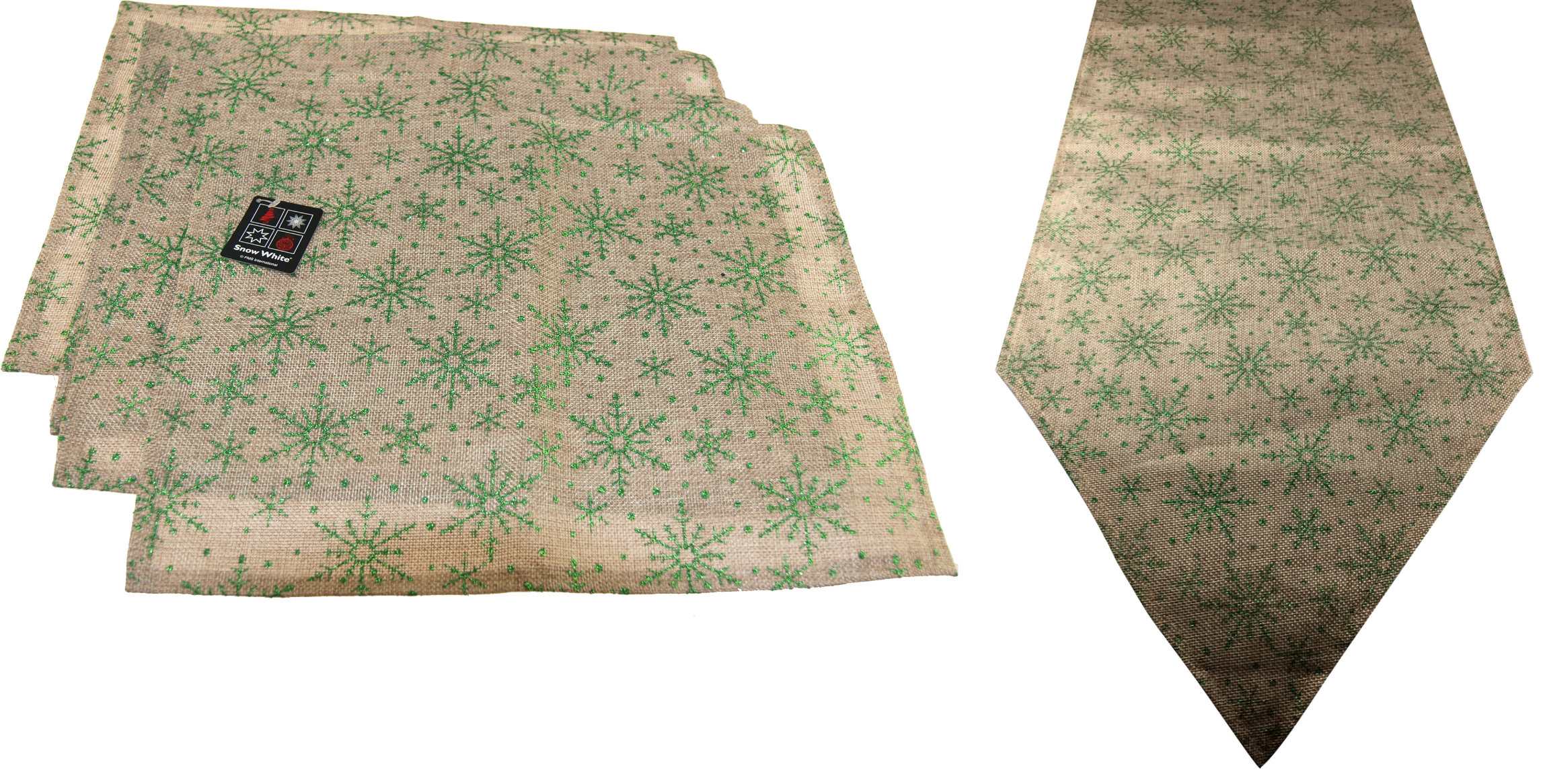 5-Piece-Christmas-Snowflake-Dinner-Table-Place-Mats-And-Runner-Set-Green-Red thumbnail 9