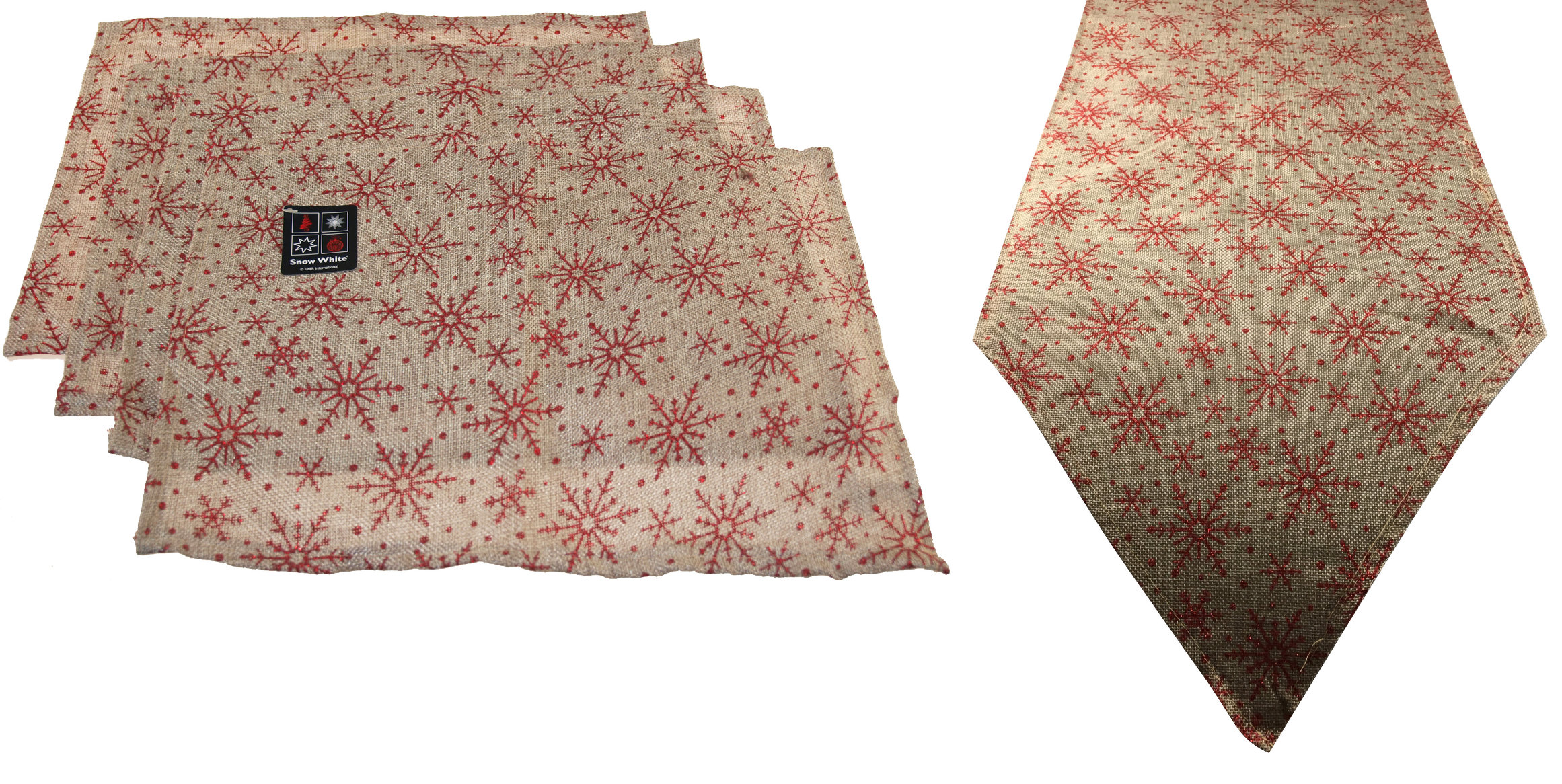 5-Piece-Christmas-Snowflake-Dinner-Table-Place-Mats-And-Runner-Set-Green-Red thumbnail 5