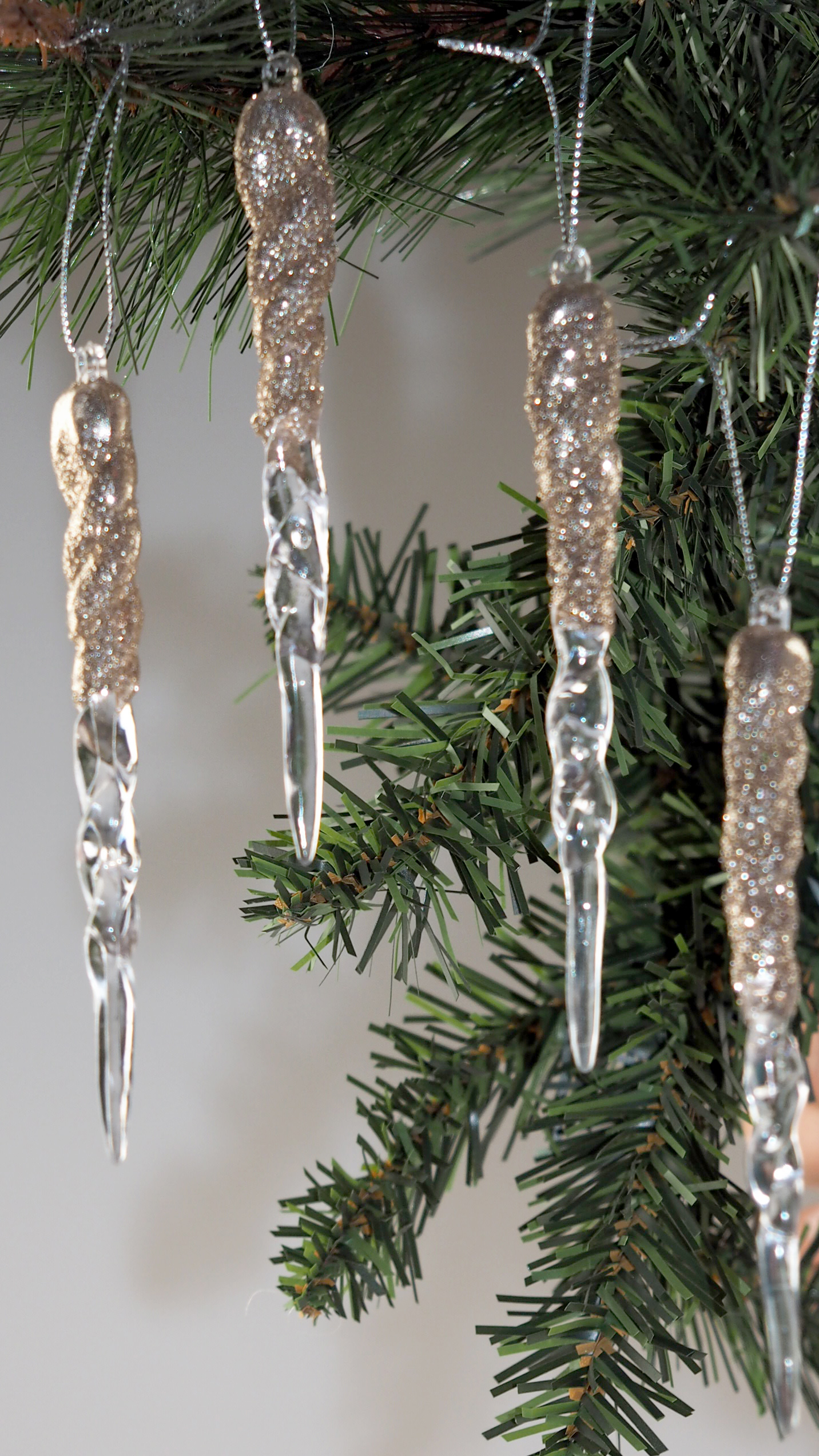 18 Ice Effect 12 Cm Champagne Gold Hanging Icicles Christmas Tree Decorations Ebay