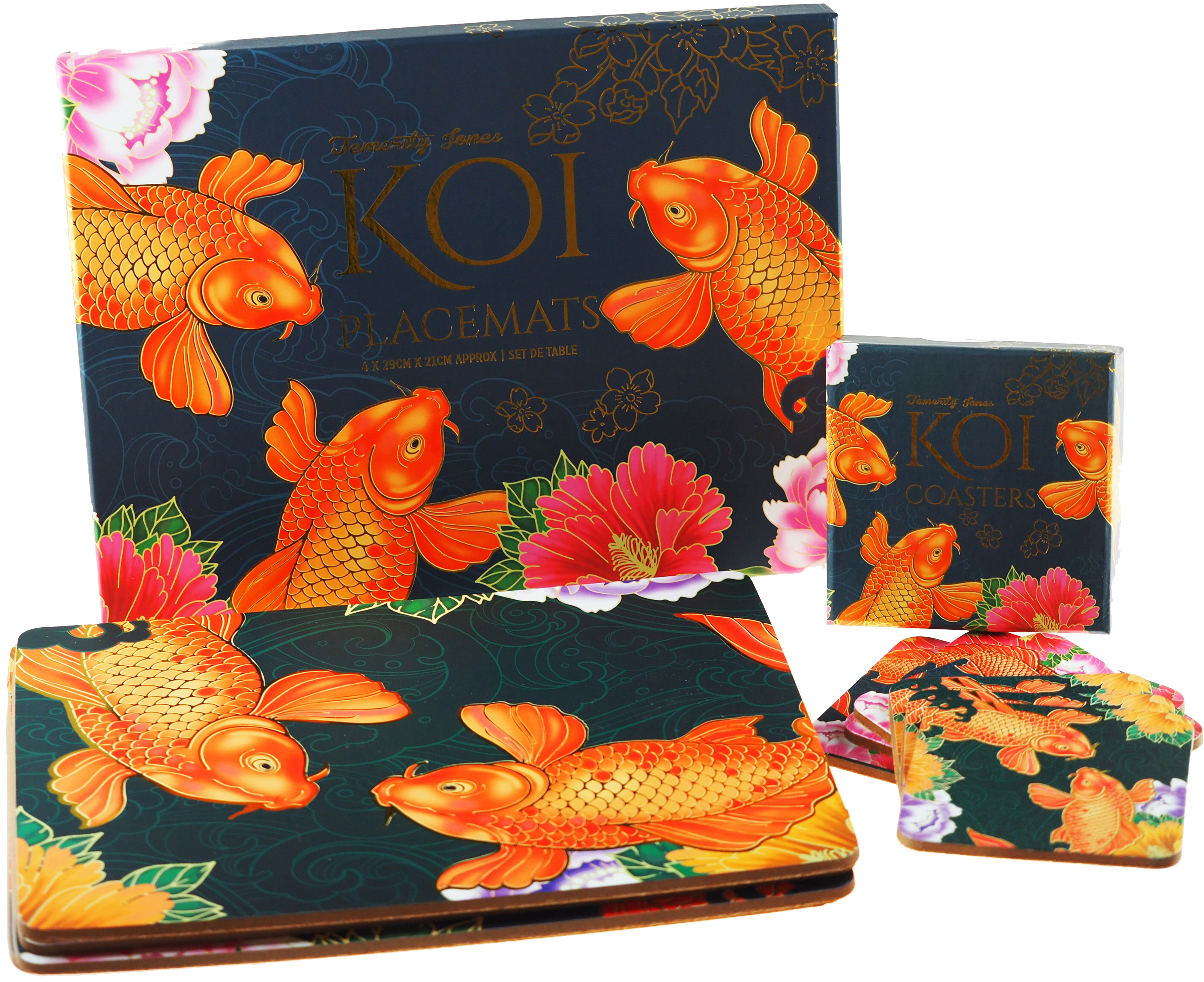 Set Of 4 Koi Carp Gold Fish Japanese Pond Design Table Placemats And 6 Coasters Ebay