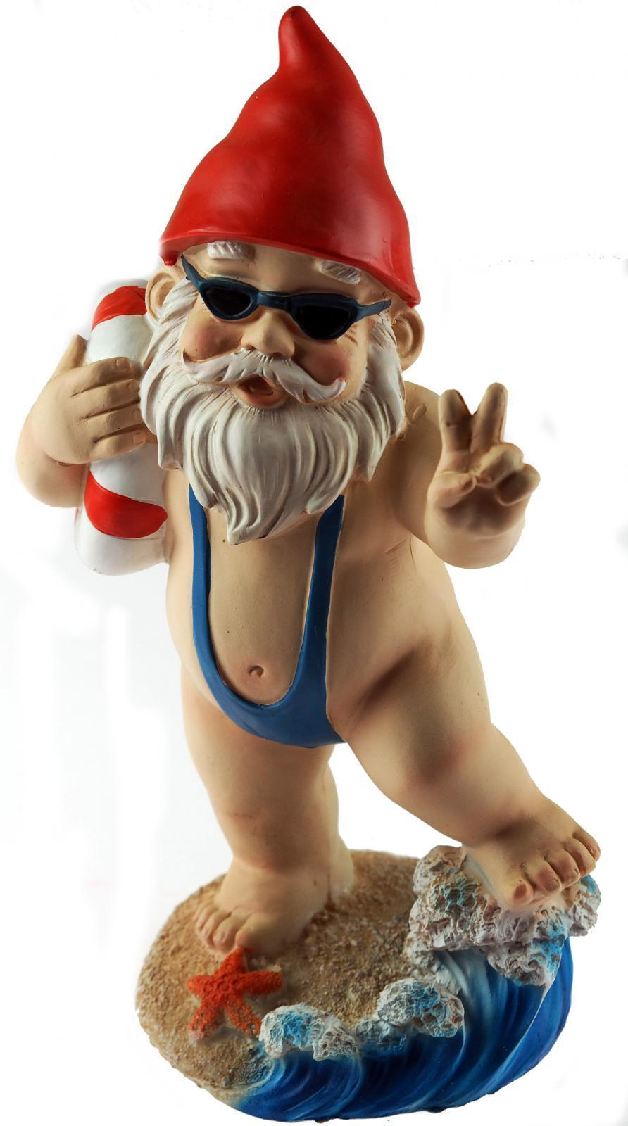 Large 21cm Funny Gnome Garden Ornament - Mankini / Life Ring Design ...