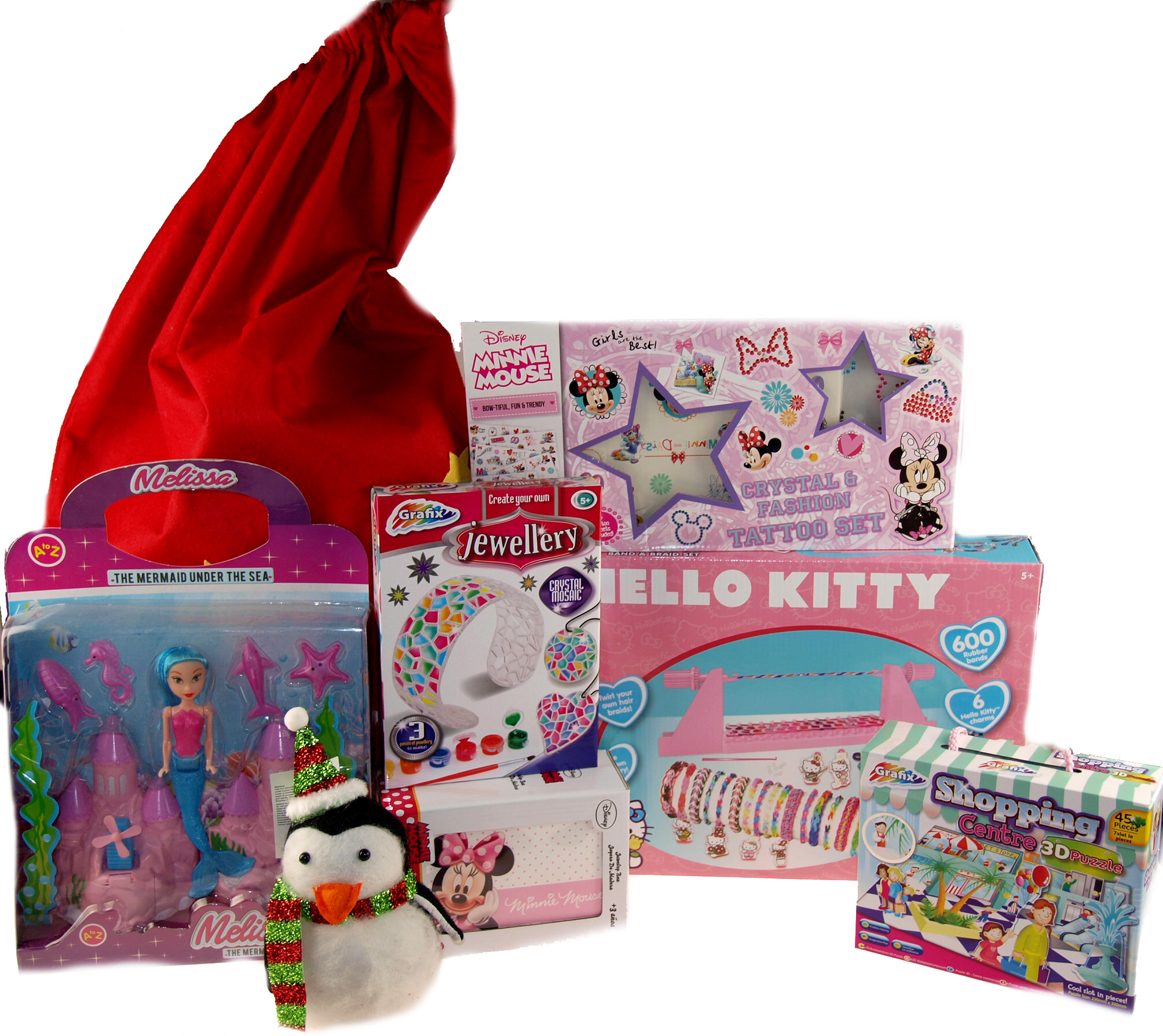 Girls 8 Piece Christmas Sack Pre Filled with Toys And Gifts