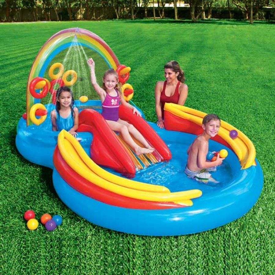 Inflatable Pool Slide Uk: Intex Rainbow Kids Play Centre Inflatable Swimming