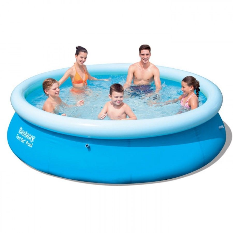 Bestway fast set round inflatable family swimming paddling - Inflatable quick set swimming pool ...