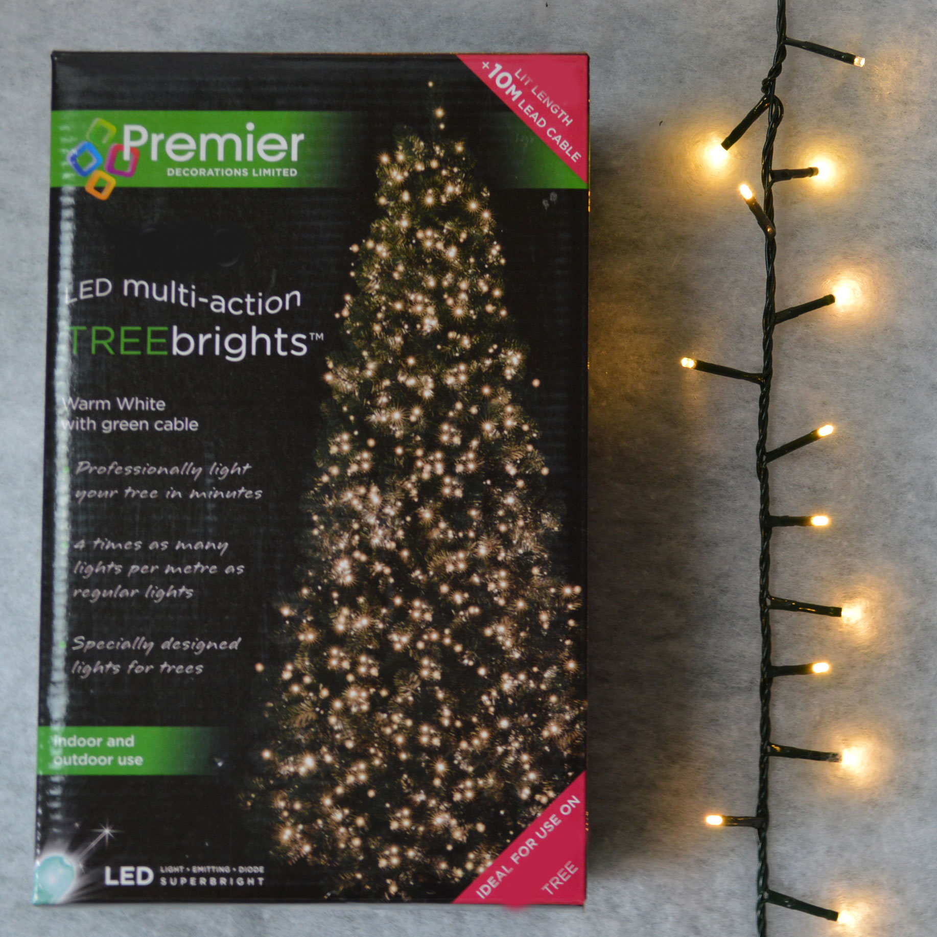 1,000 Led (25M) Premier Treebrights Cluster Christmas Tree Lights In
