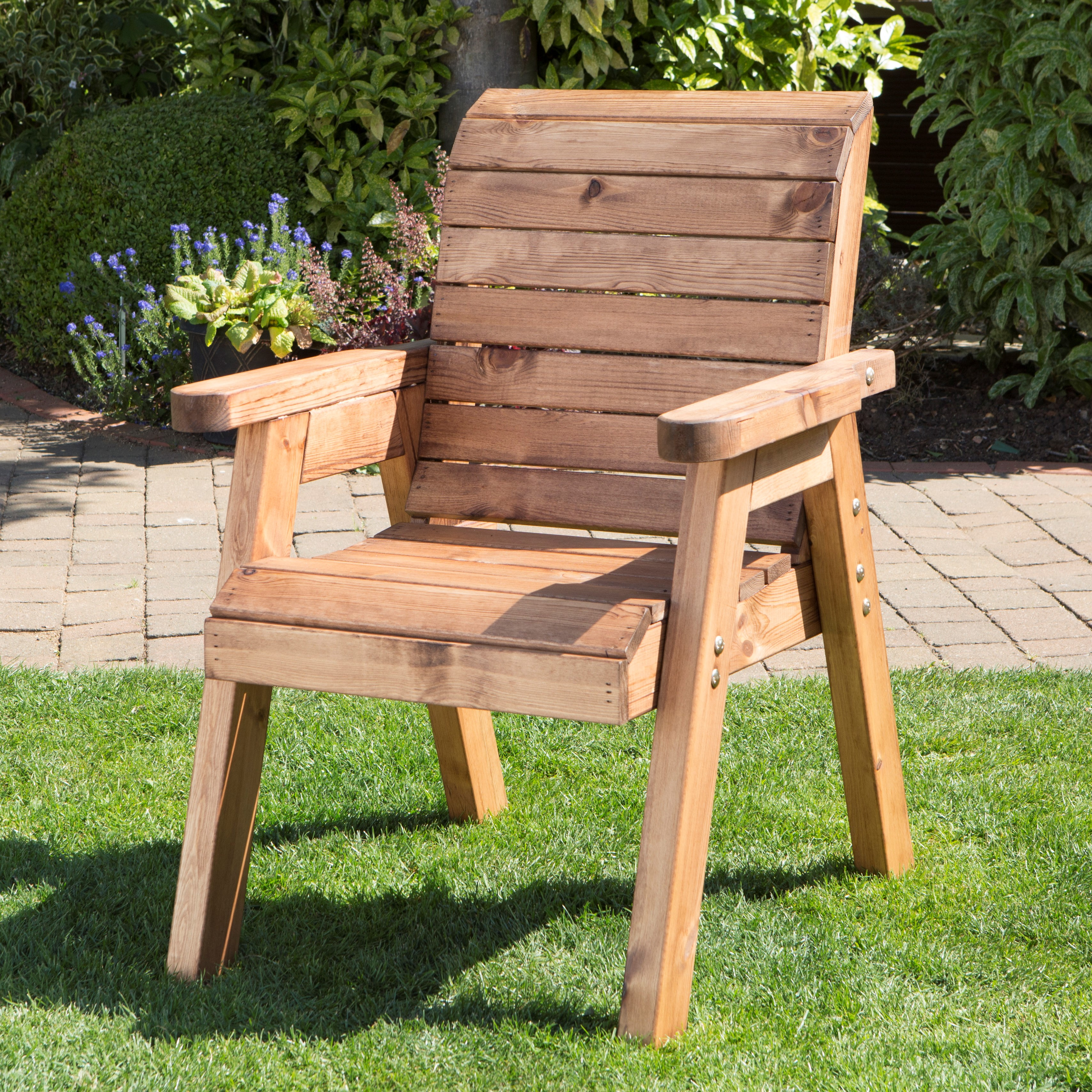 Details About Hand Made Traditional Chunky Rustic Wooden Garden Chair Furniture