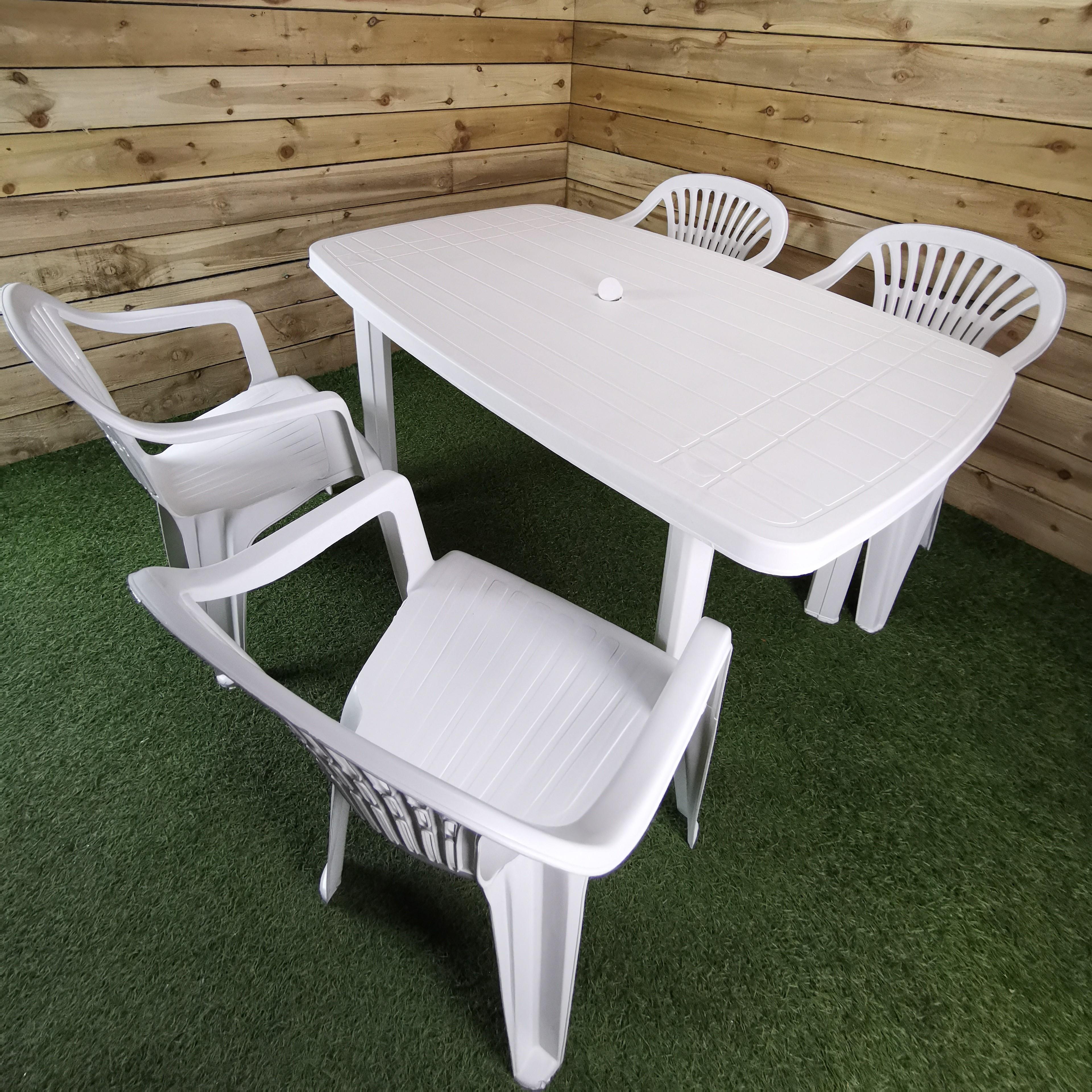 4 Person Adults White Plastic Garden Furniture Set