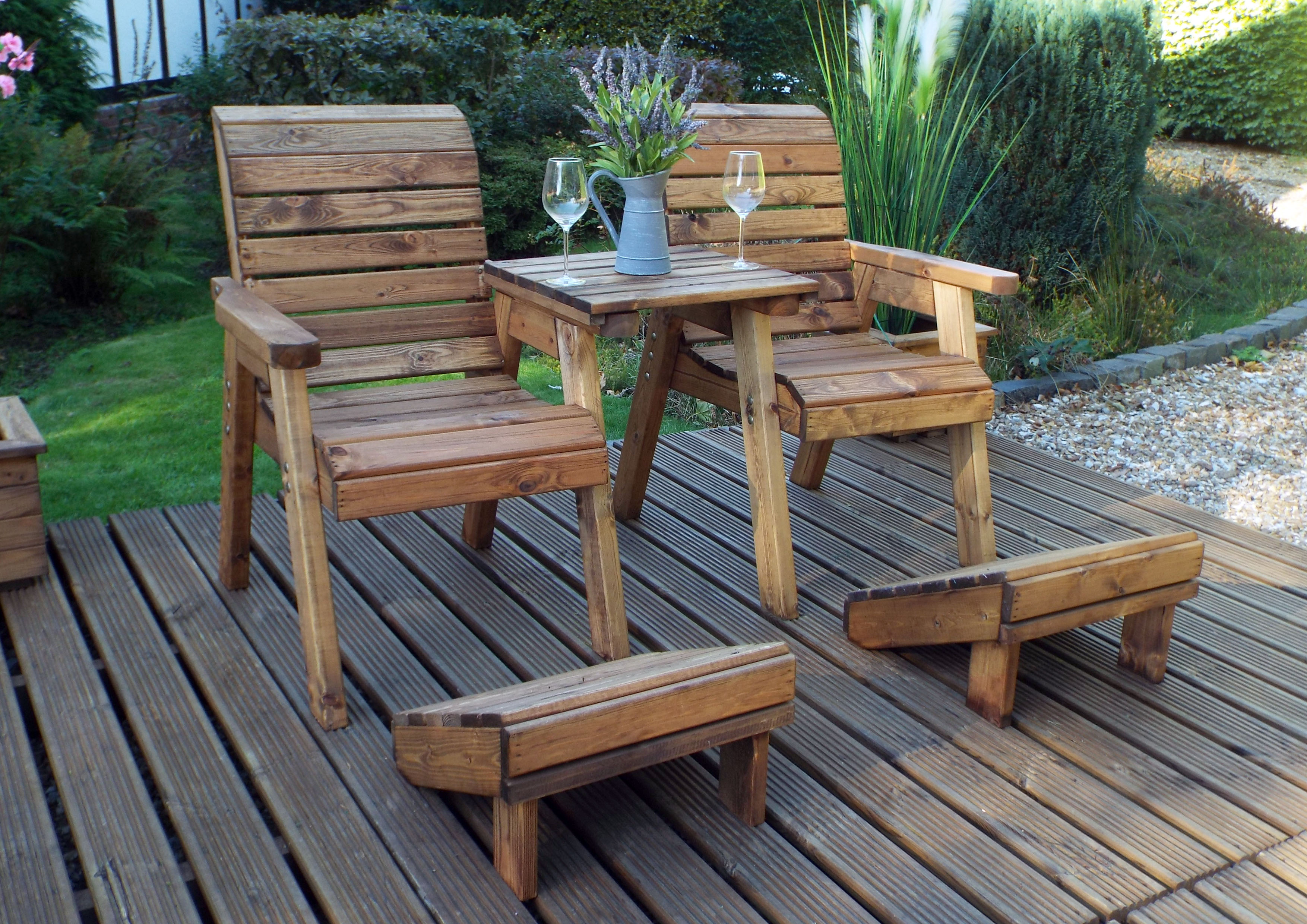 Hand Made Chunky Rustic Wooden Garden Chair Furniture Set ...