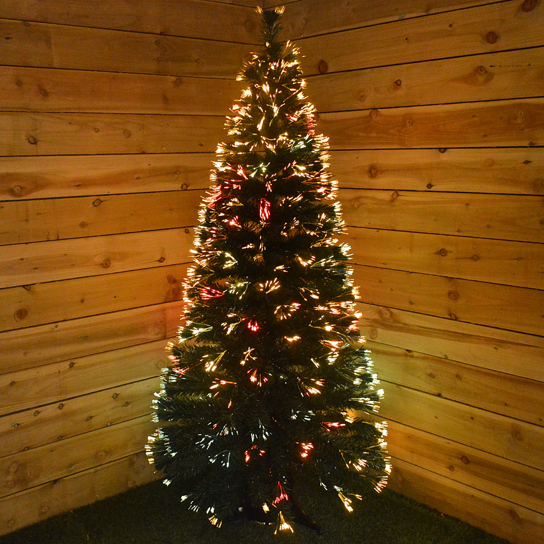 6Ft (180Cm) Christmas Tree With Colour Changing Fibre Optic Lights