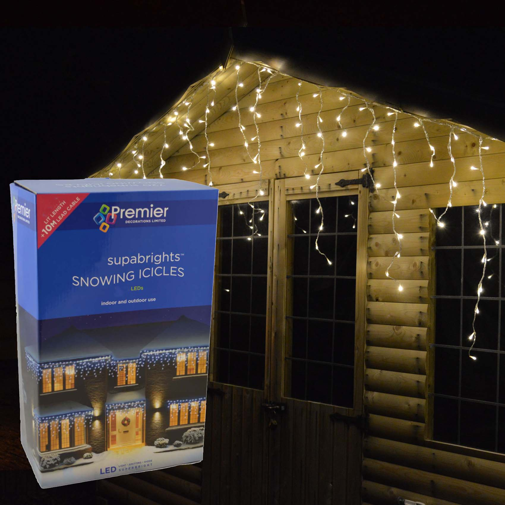 Icicle Christmas Lights.Details About Premier Outdoor Led Icicle Christmas Lights Blue White Or Multi Coloured