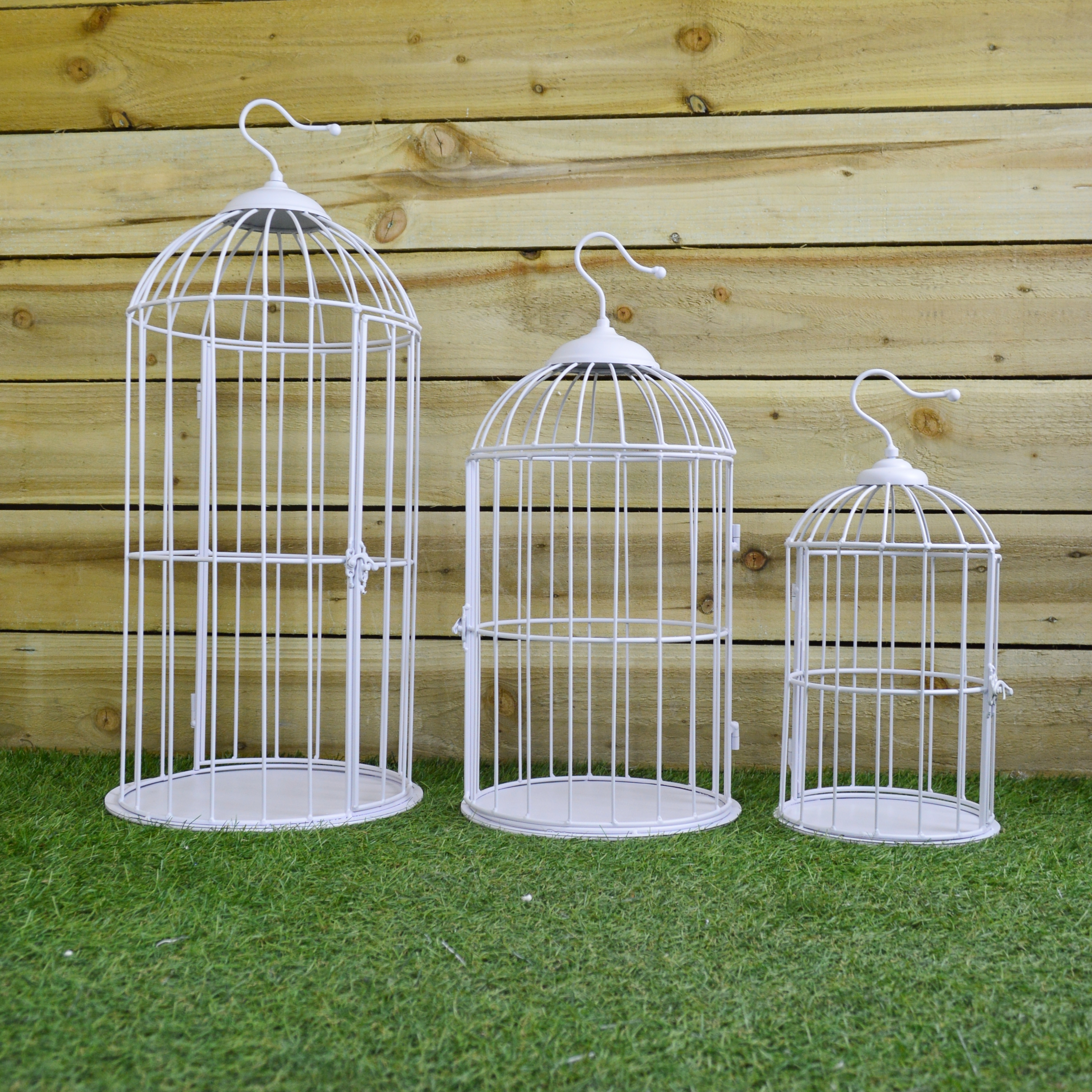 Set Of 3 White Ornate Wire Bird Cages 3 Different Sizes Weddings And ...