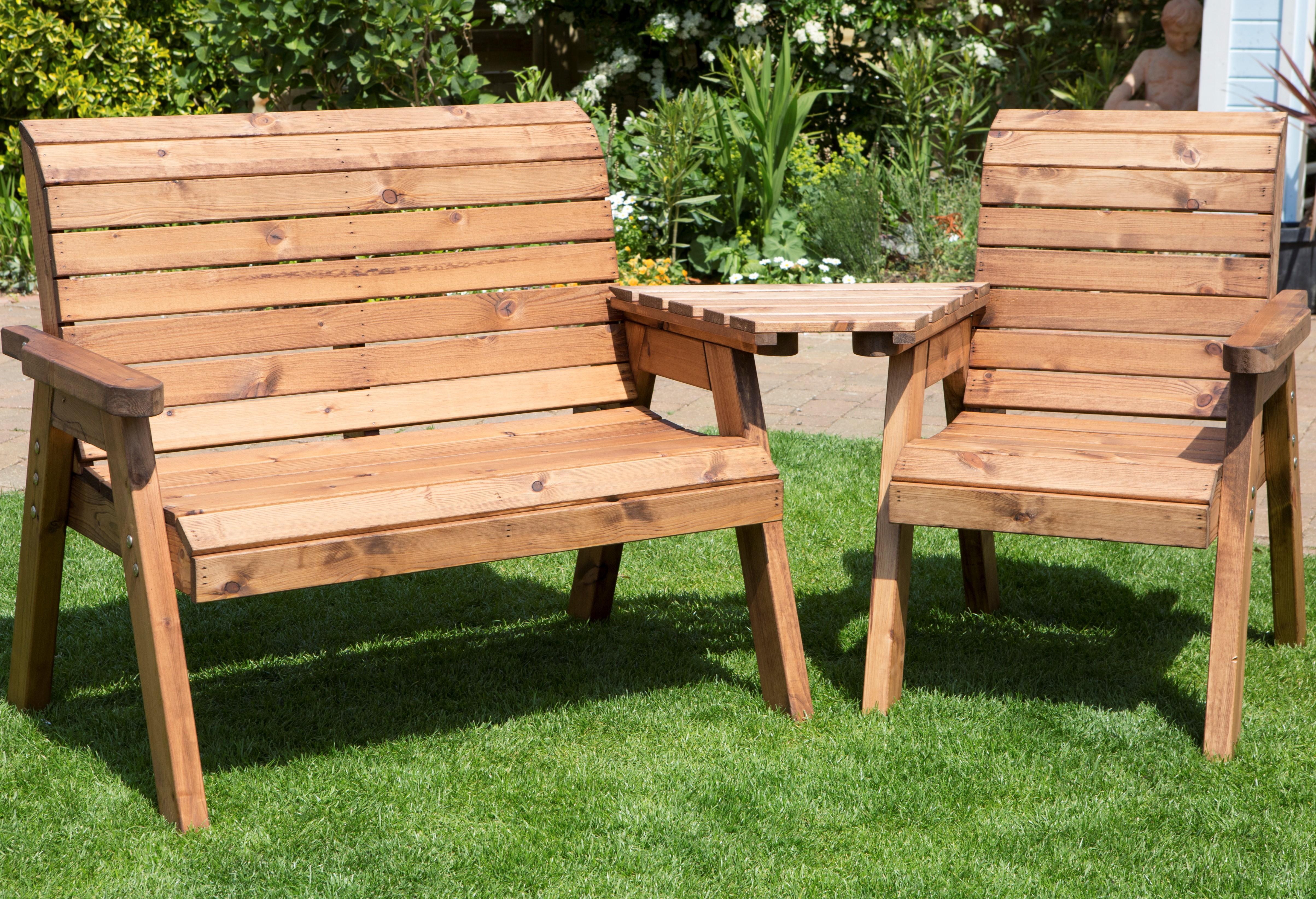 Details About Hand Made 3 Seater Chunky Rustic Wooden Garden Furniture Companion Set With Tray