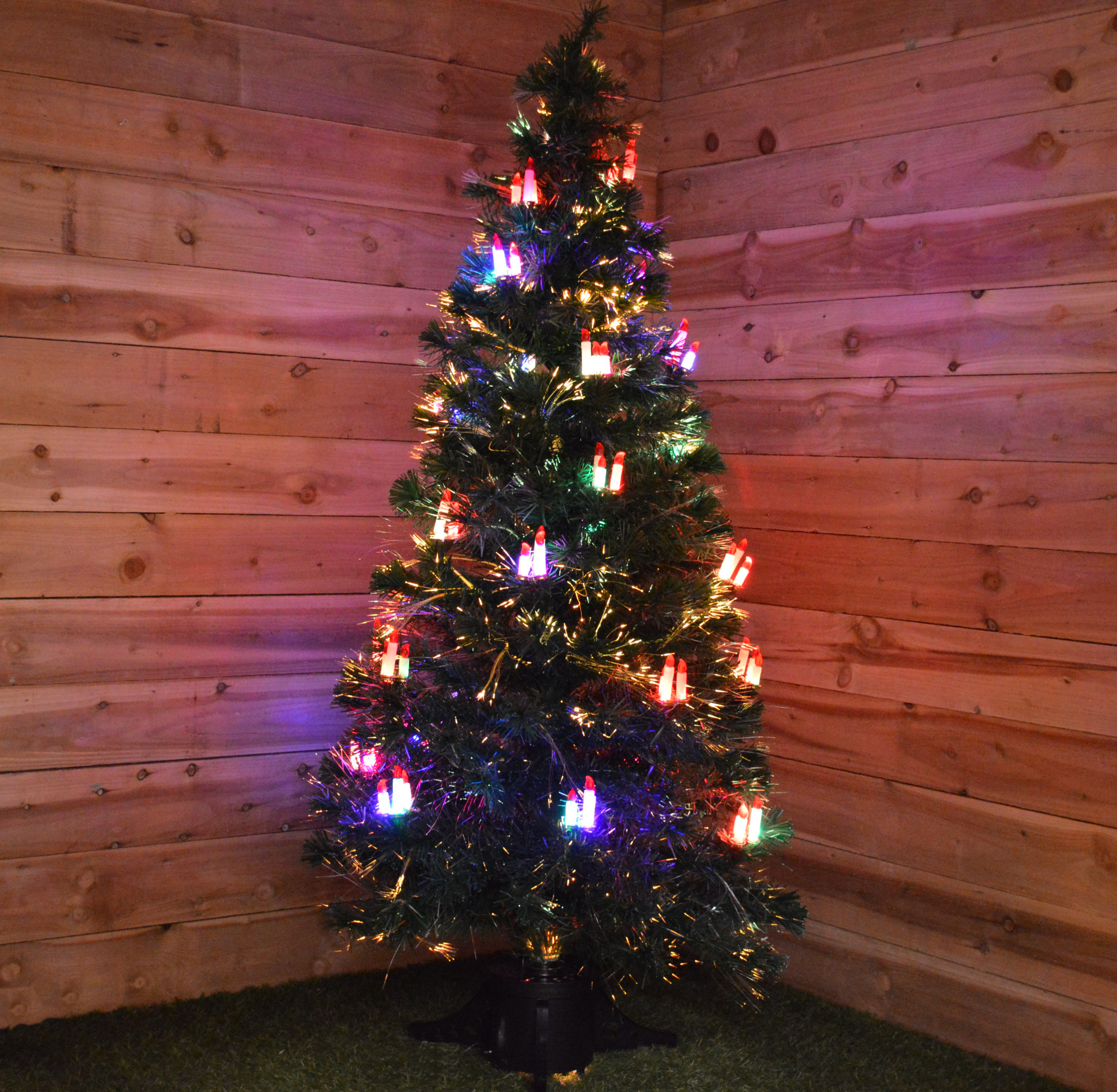 18M Fibre Optic Lit Christmas Tree With Led Candles
