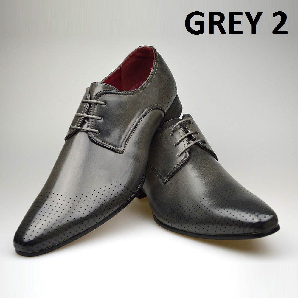 Grey Patent Shoes Mens