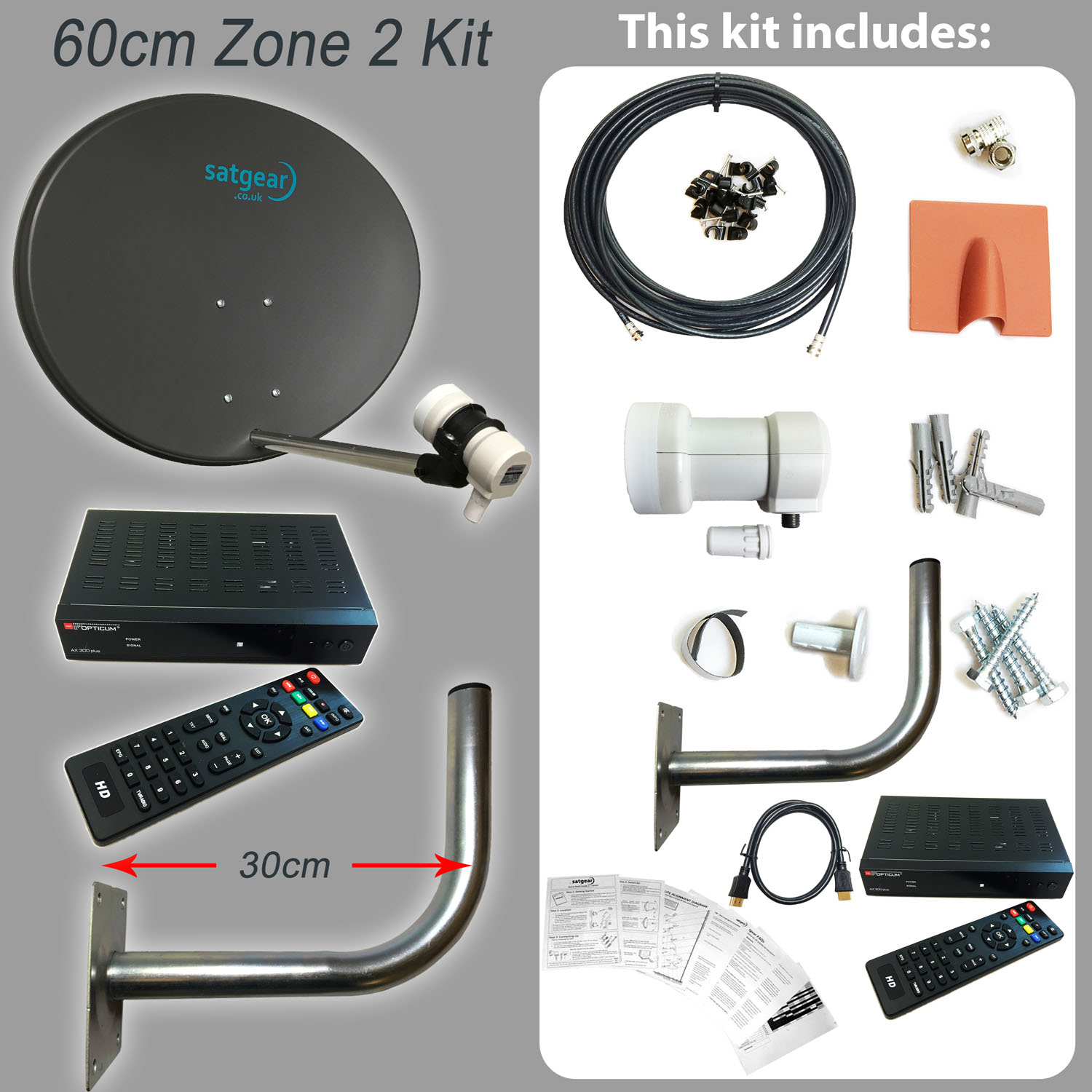 Satgear 60cm Zone 2 Solid Satellite Dish Kit inc 10m of Single Cable and Universal Single LNB