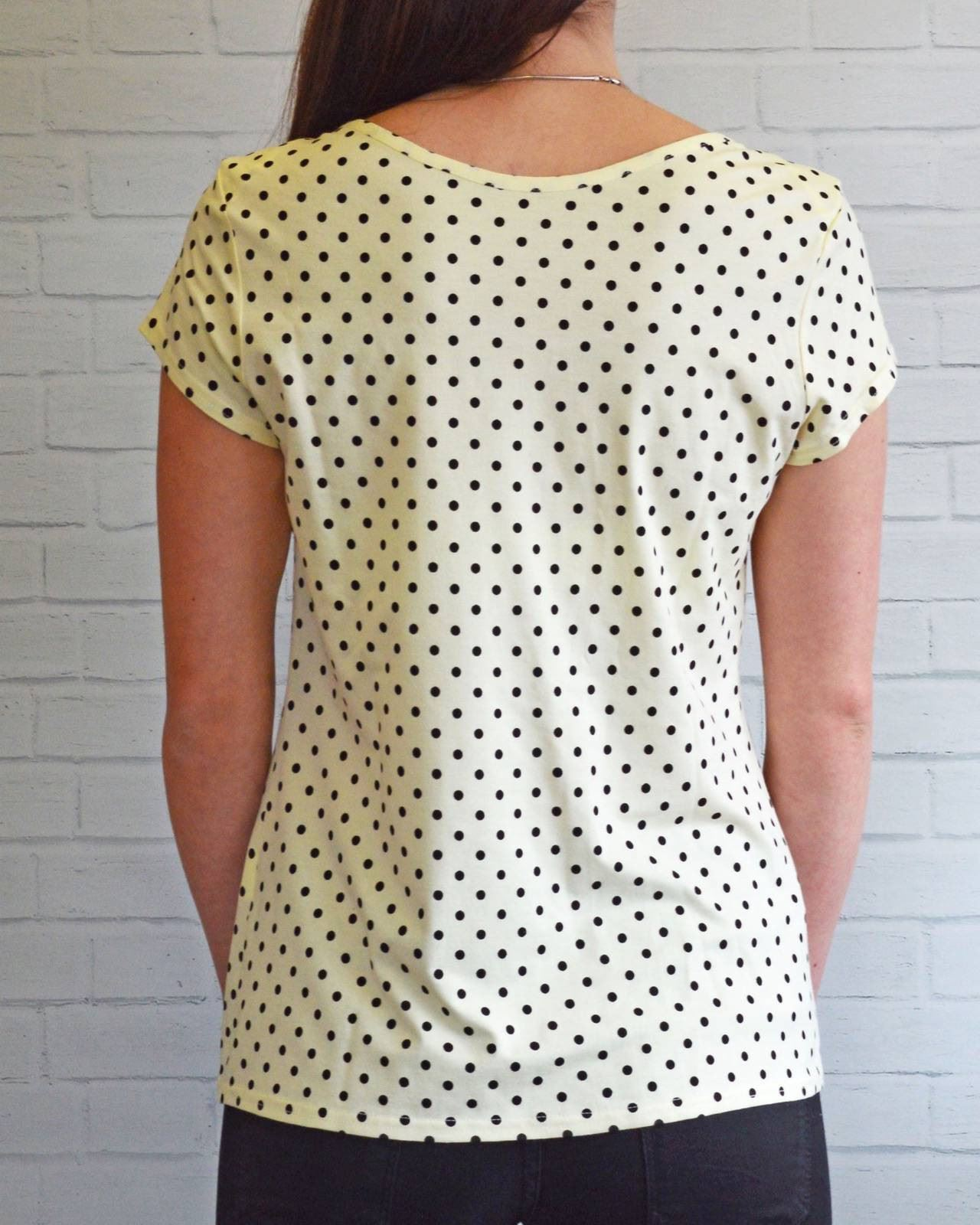 KALIKO-Pastel-Spotted-Jersey-T-Shirt-Top-in-Pink-or-Yellow-Polka-Dot