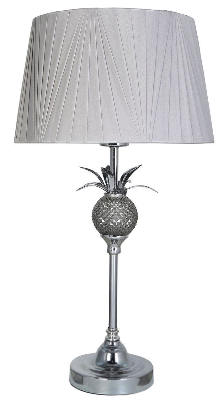 Light Grey Bedside Table: 55cm Chrome Silver Pineapple Bedside Table Lamp W Light