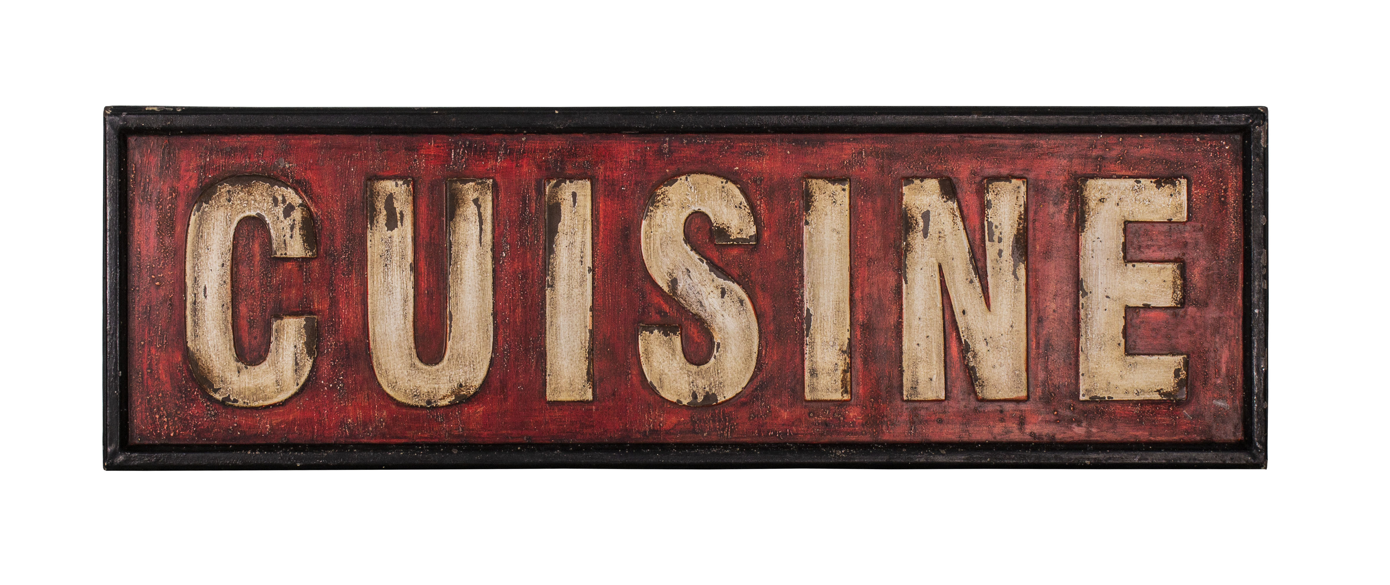 Long Red French Shabby Chic Style Kitchen Cuisine Metal Wall Sign