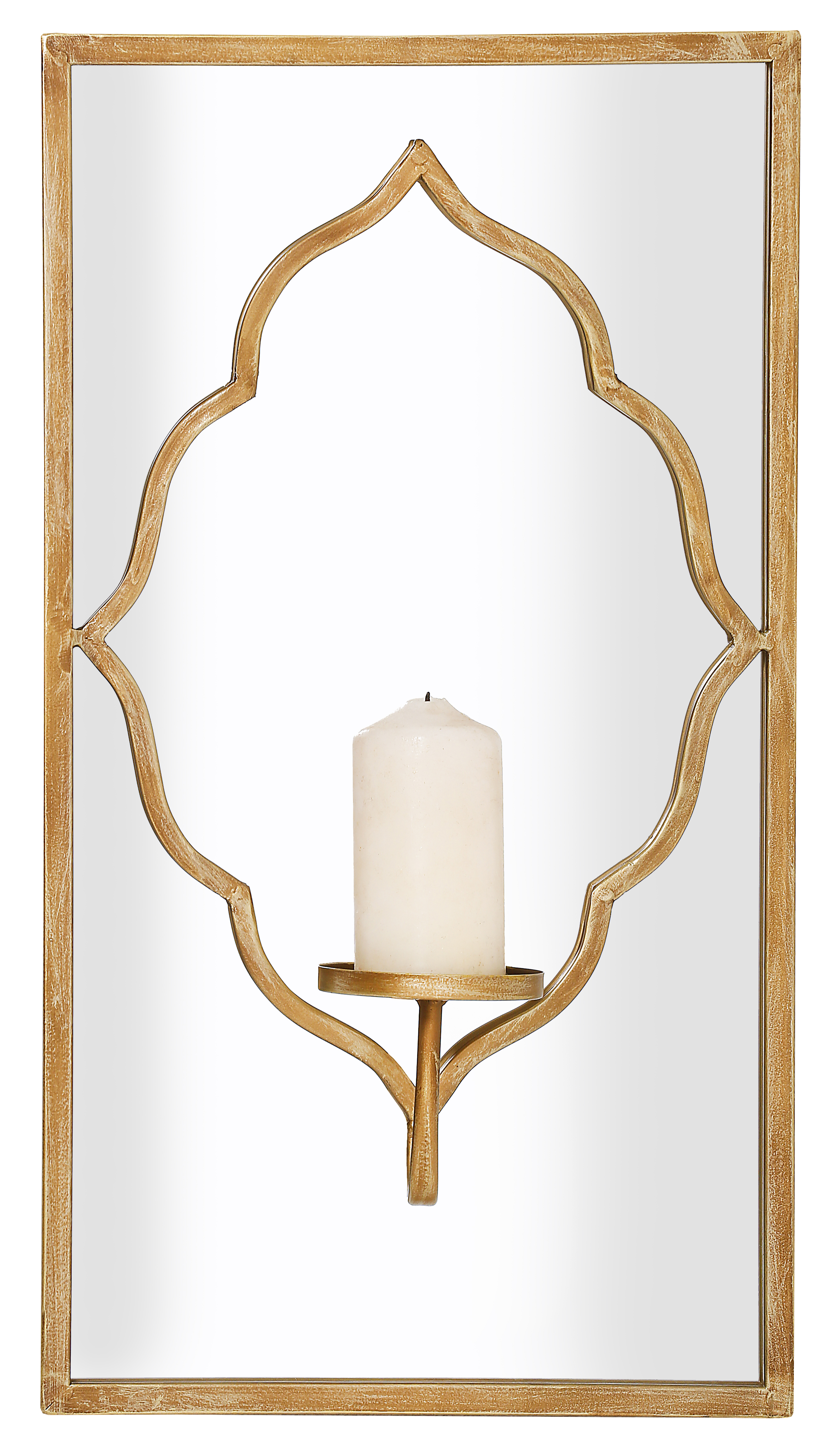 Large 24 Moroccan Style Mirror Wall Sconce Candle Holder Gold Distressed Ebay