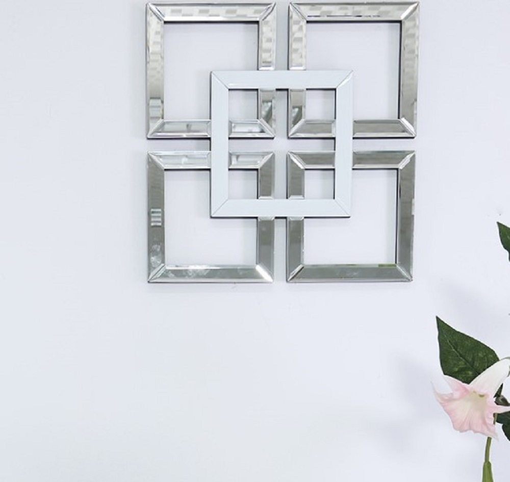 Square Mirrored Wall Art Mirror Geometric Glass Bevelled Decor White 40x40cm Ebay