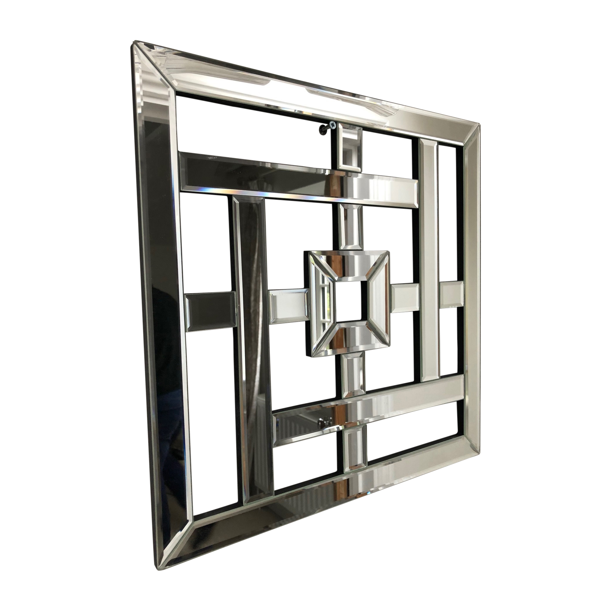 Geo Mirrored Wall Art Mirror Geometric Glass Bevelled Art Decor Square 40cm Ebay