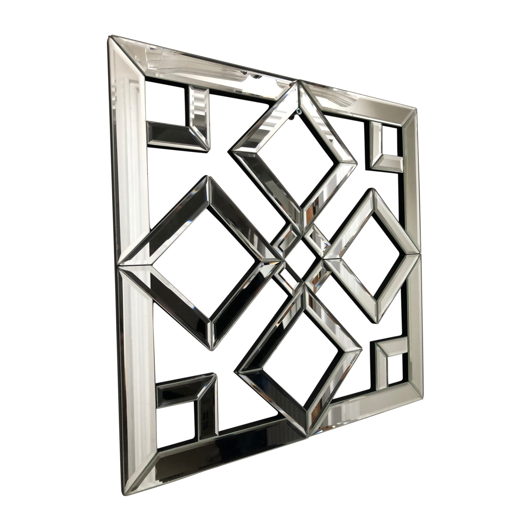 Diamond Geo Mirrored Wall Art Mirror Geometric Glass Bevelled Art Decor 40x40cm Ebay