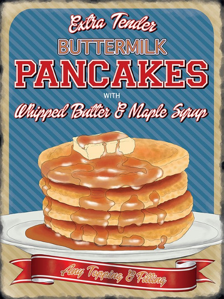 Vintage Style Retro Metal Wall Sign Tin Plaque American Pancakes