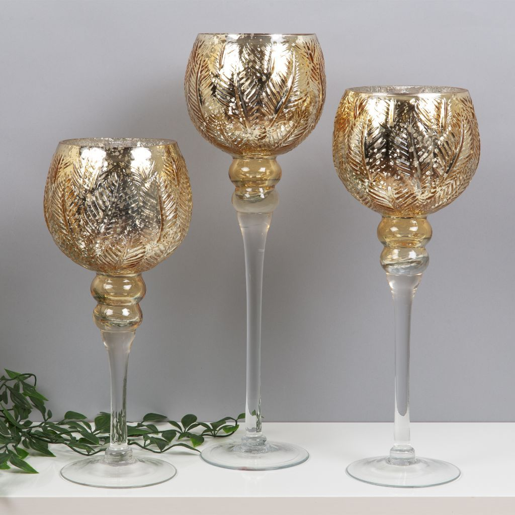 3 X Tall Glass Goblet Candle Holders Tealight Wedding Table Candles Gold Silver 737484419126 Ebay