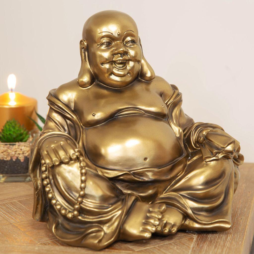 Lot de 3 bronze effet Lucky Bouddhas Ornement Happy Bouddhas Mini Small Medium