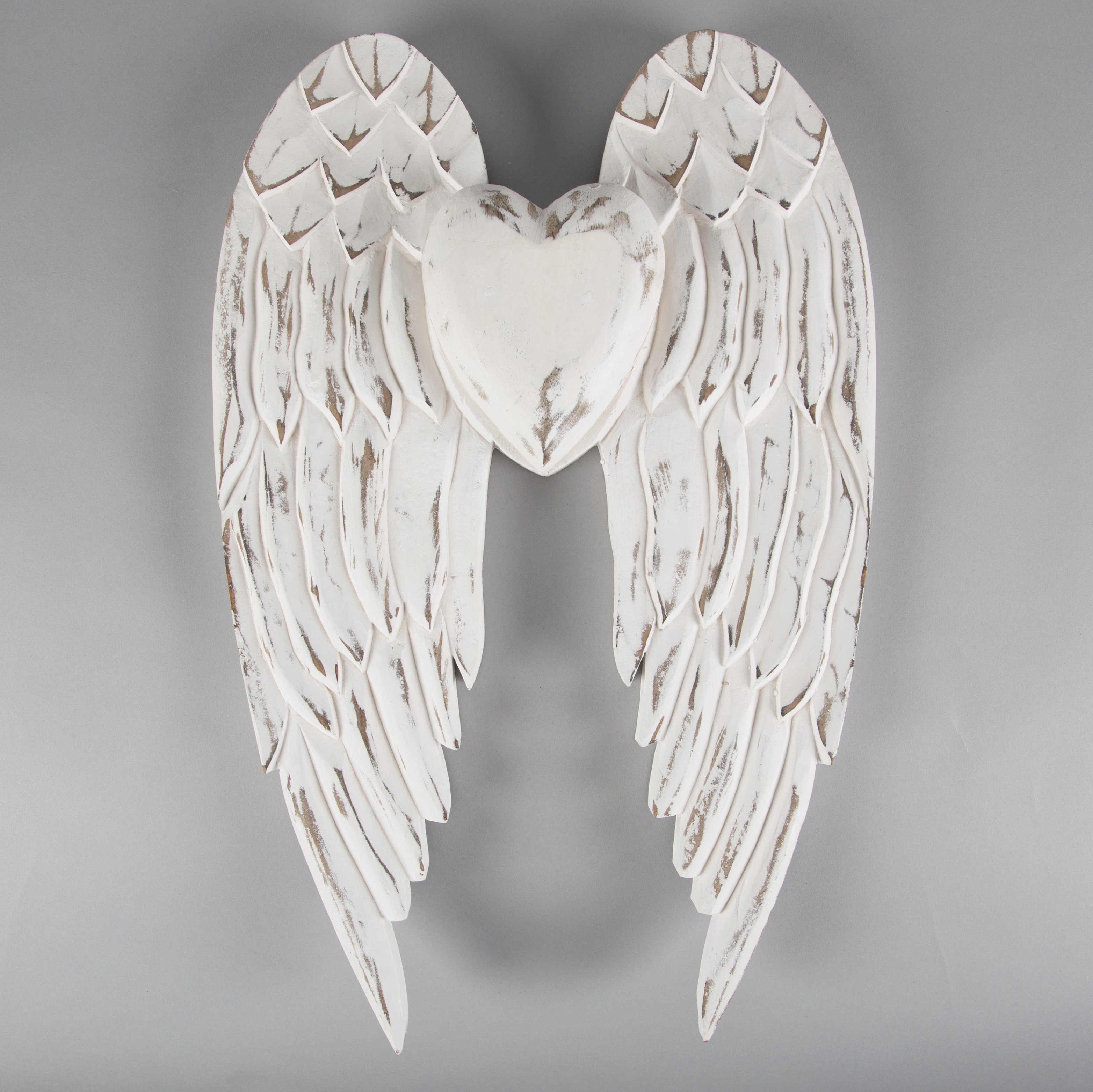 Details about Large White Wooden Angel Wings Heart Rustic Wall Hanging Home  Decor 11cm