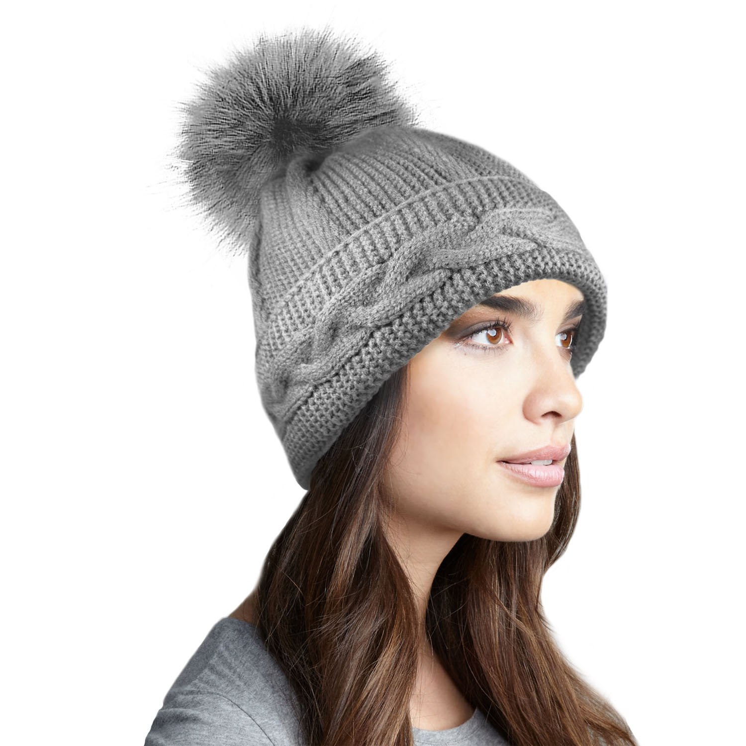 LADIES WOMENS WARM WINTER CHUNKY CABLE KNIT BEANIE BOBBLE ...