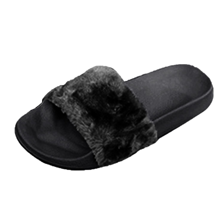 Celebrity-Style-Donna-Slip-On-Soffici-Pantofole-in-Pelliccia-Sintetica-Piatto-Cursori-Infradito