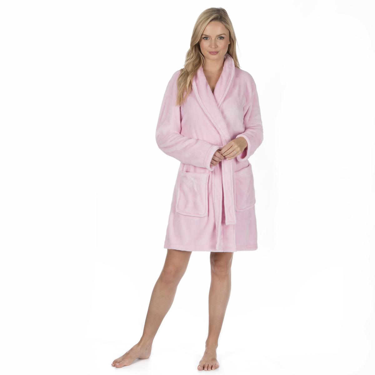 LADIES LUXURY SOFT COSY WARM VELOUR SHORT DRESSING GOWN BATH ROBE ...