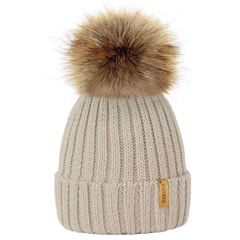 ladies womens winter knitted beanie ski hat detachable. Black Bedroom Furniture Sets. Home Design Ideas