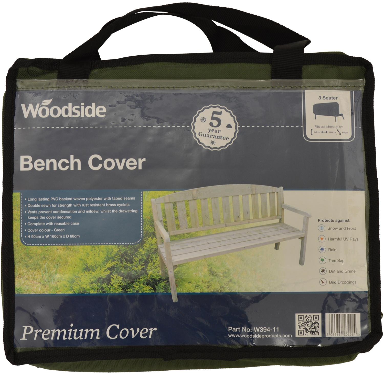 5ft Woodside Green 1.5m 3 Seater Bench Garden Patio Furniture Waterproof Cover
