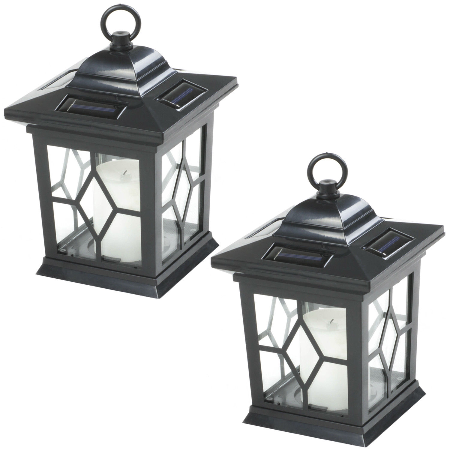 Details About Woodside 2 X Solar Ed Hanging Candle Lanterns Lamp Coach Light