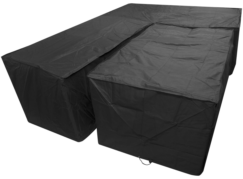 Woodside Black L Shape Outdoor Dining Waterproof Patio Set