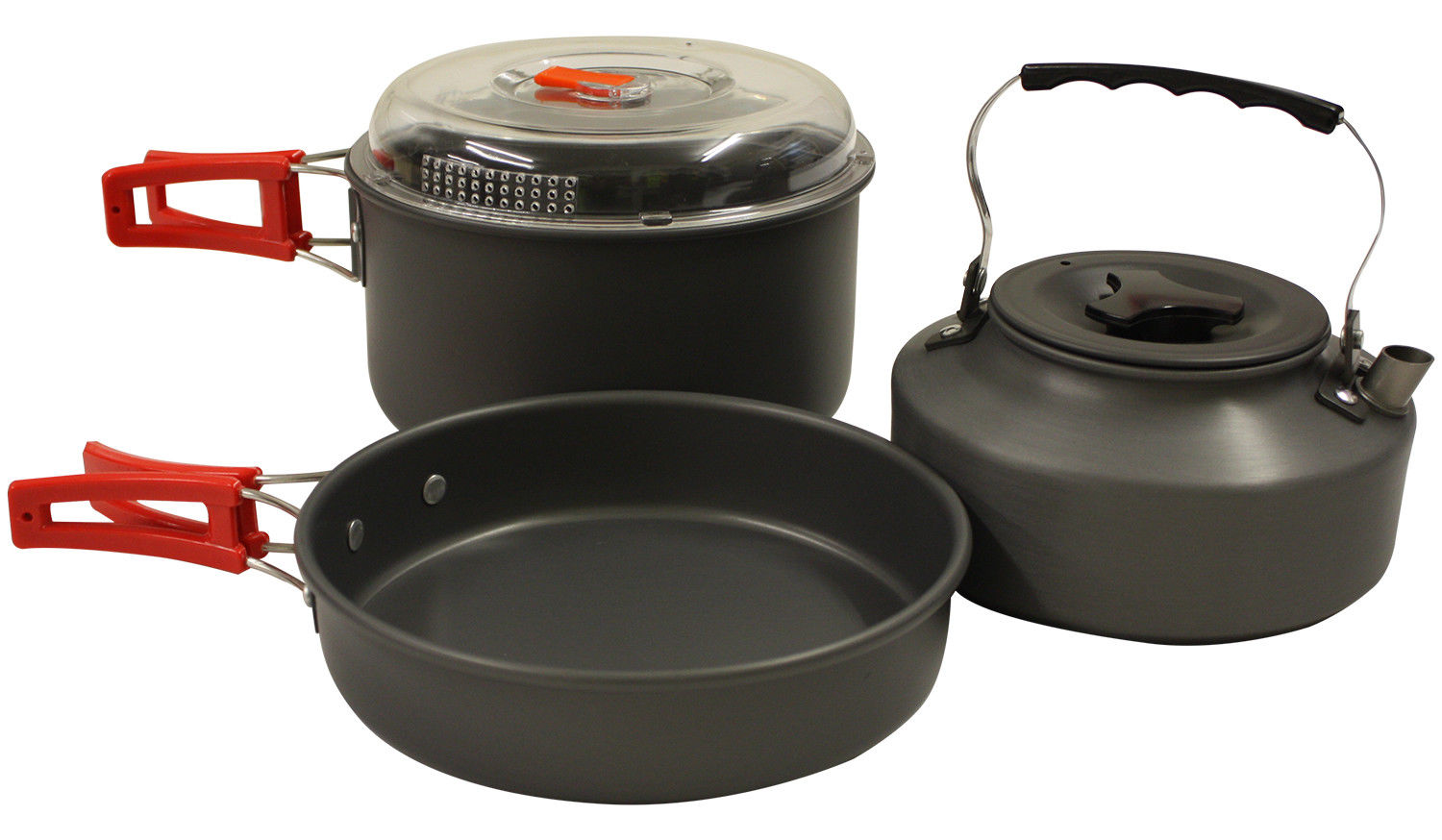 Portable Camping Cook Cooking Cookware Set Anodised